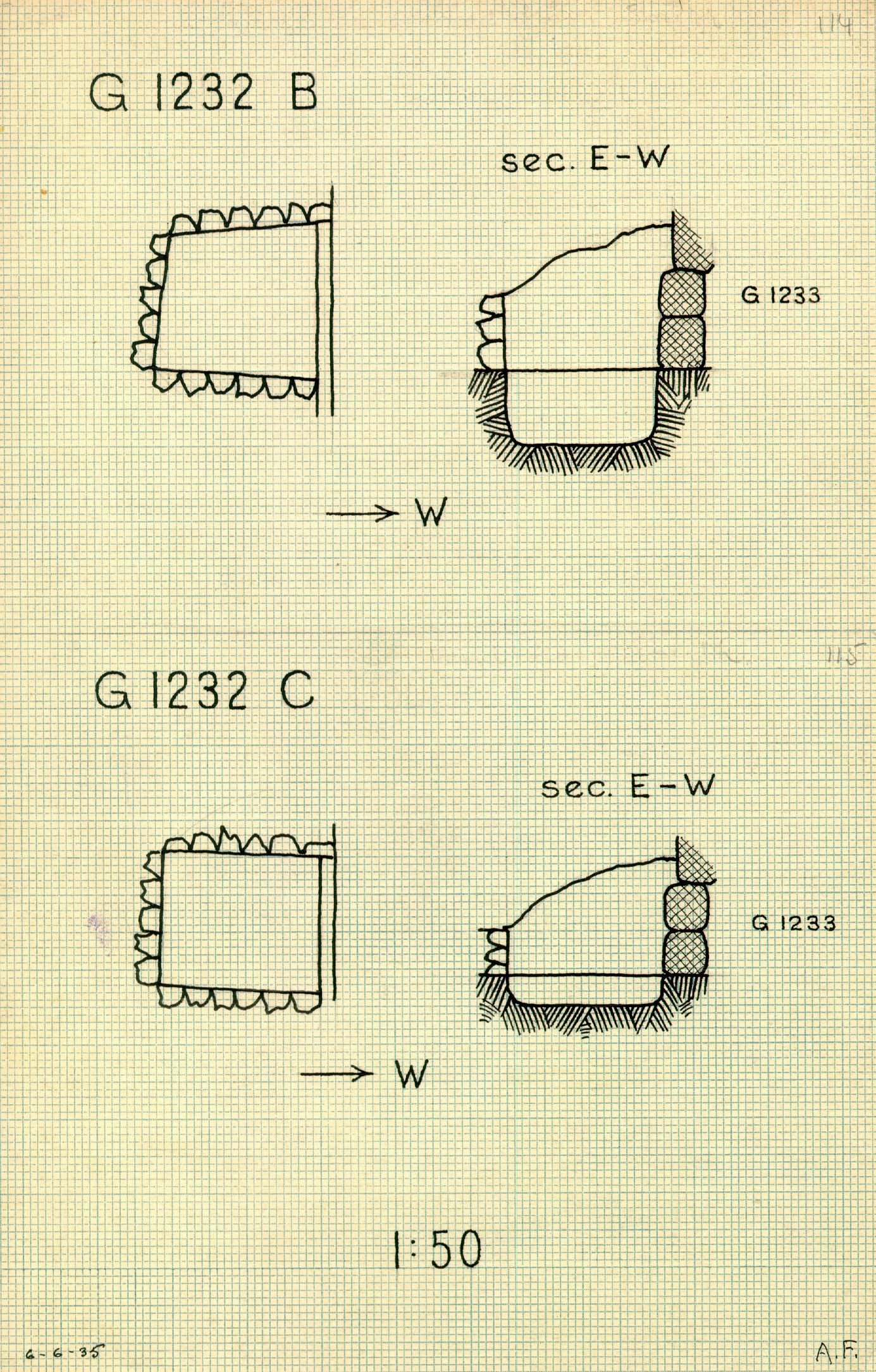 Maps and plans: G 1232, Shaft B and C
