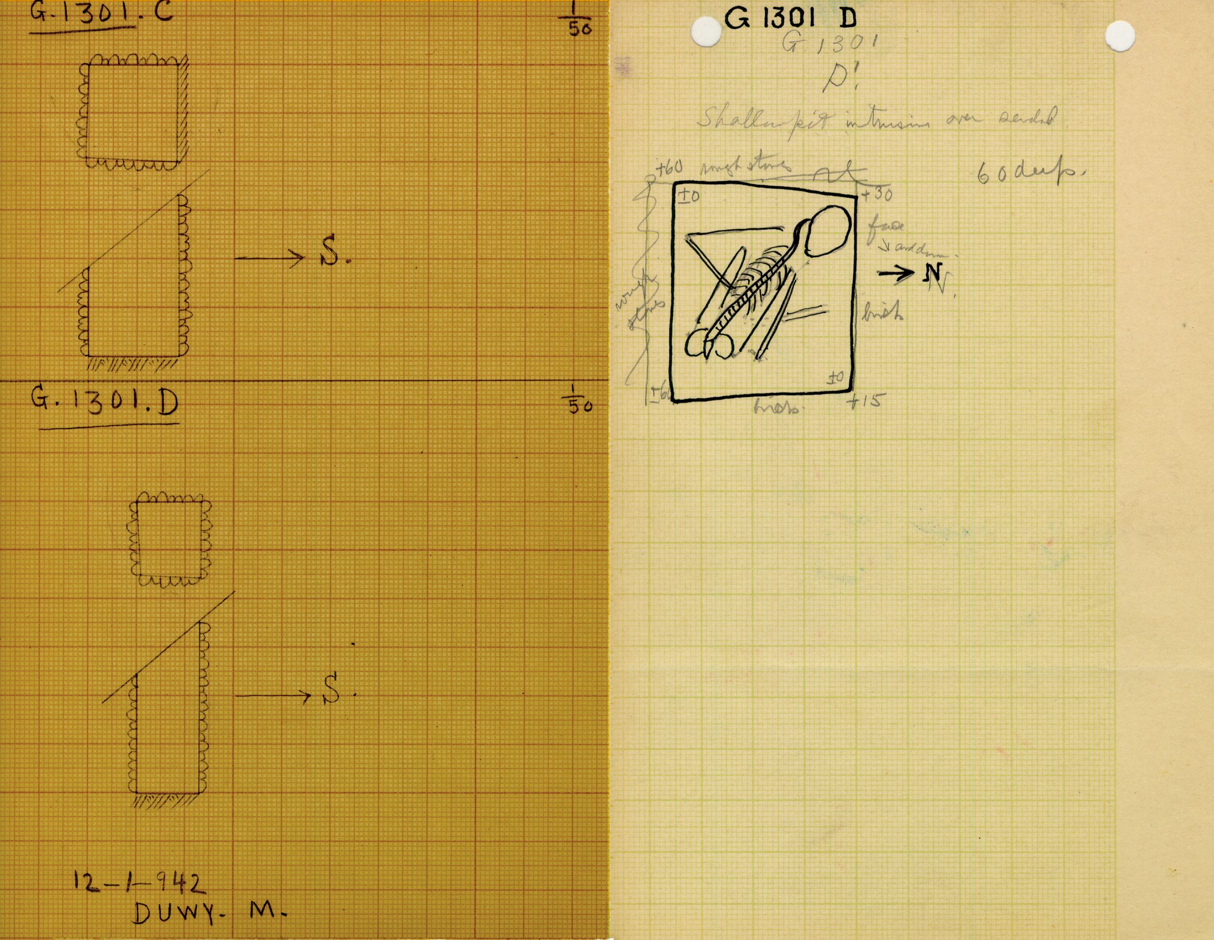 Maps and plans: G 1301, Shaft D
