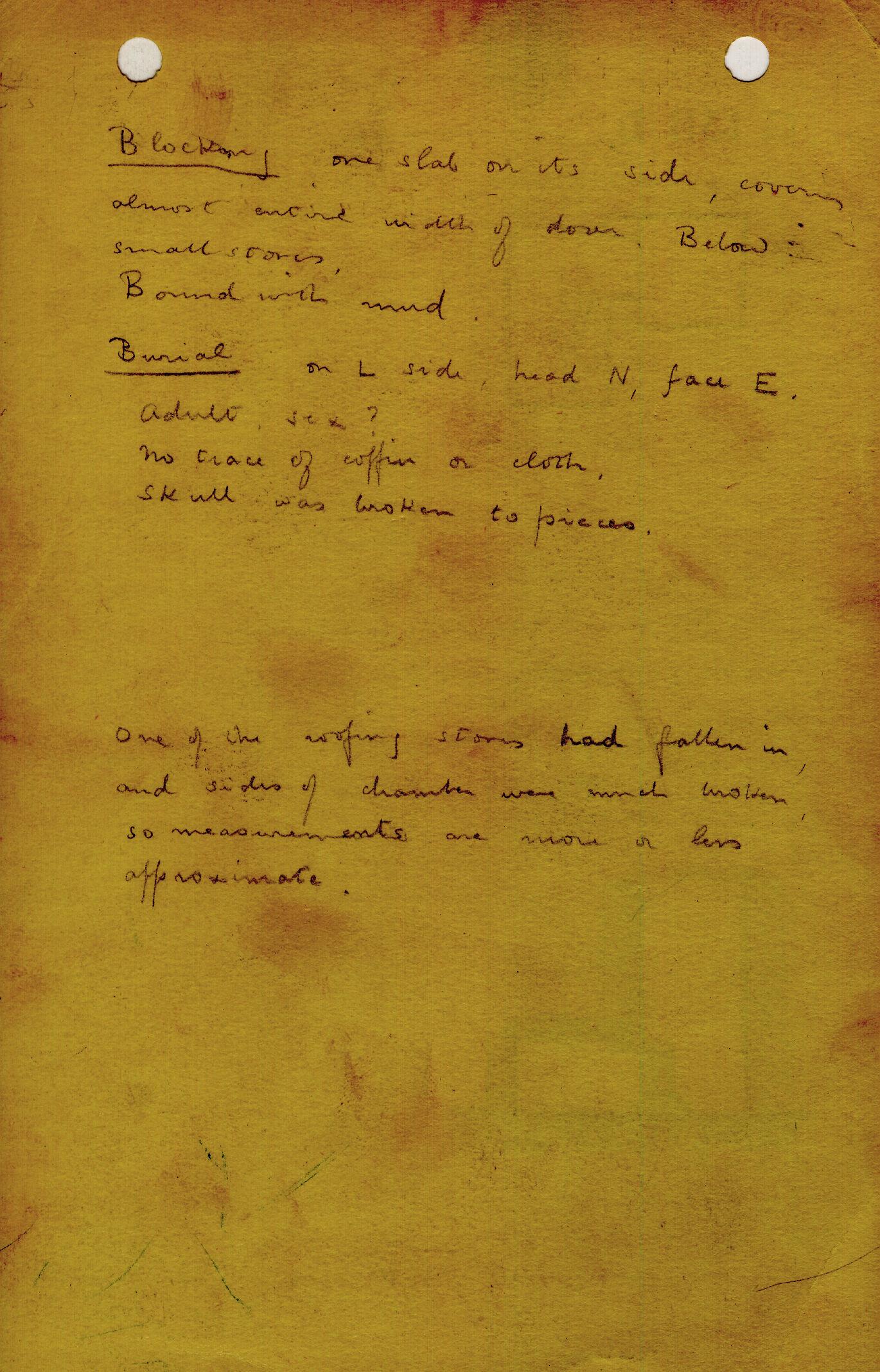 Notes: G 1311, Shaft D, notes