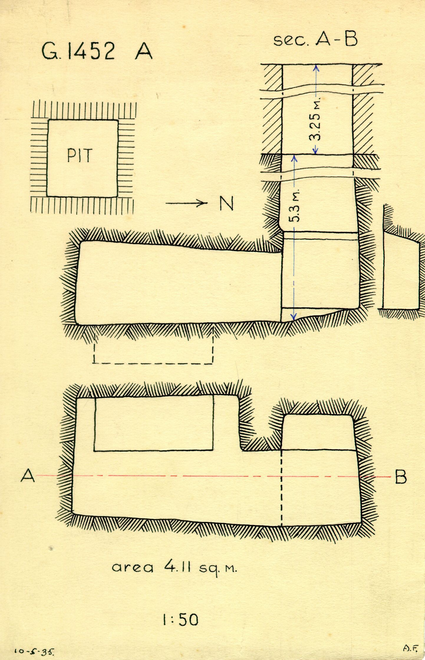 Maps and plans: G 1452+1453: G 1452, Shaft A