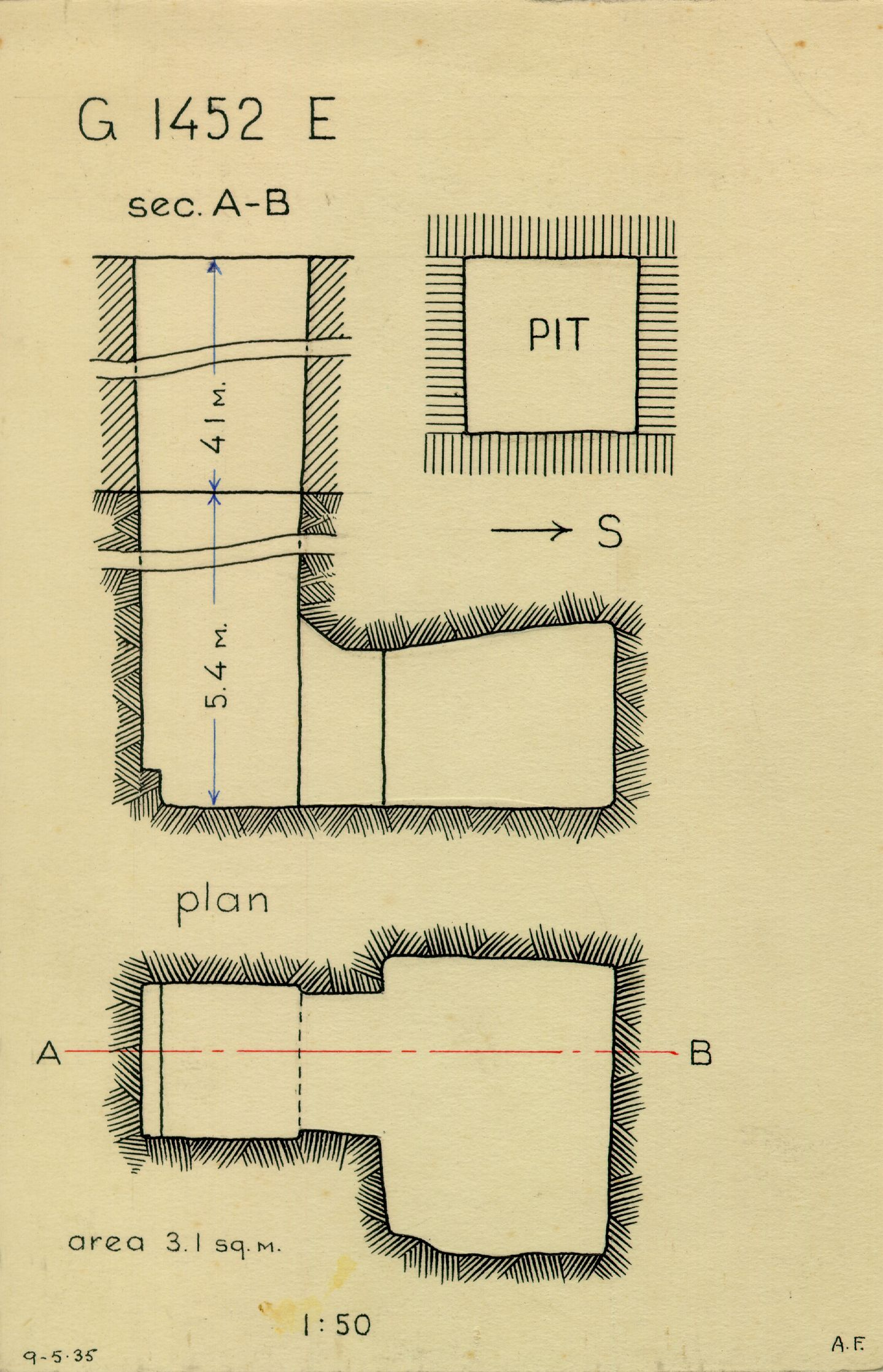 Maps and plans: G 1452+1453: G 1452, Shaft E