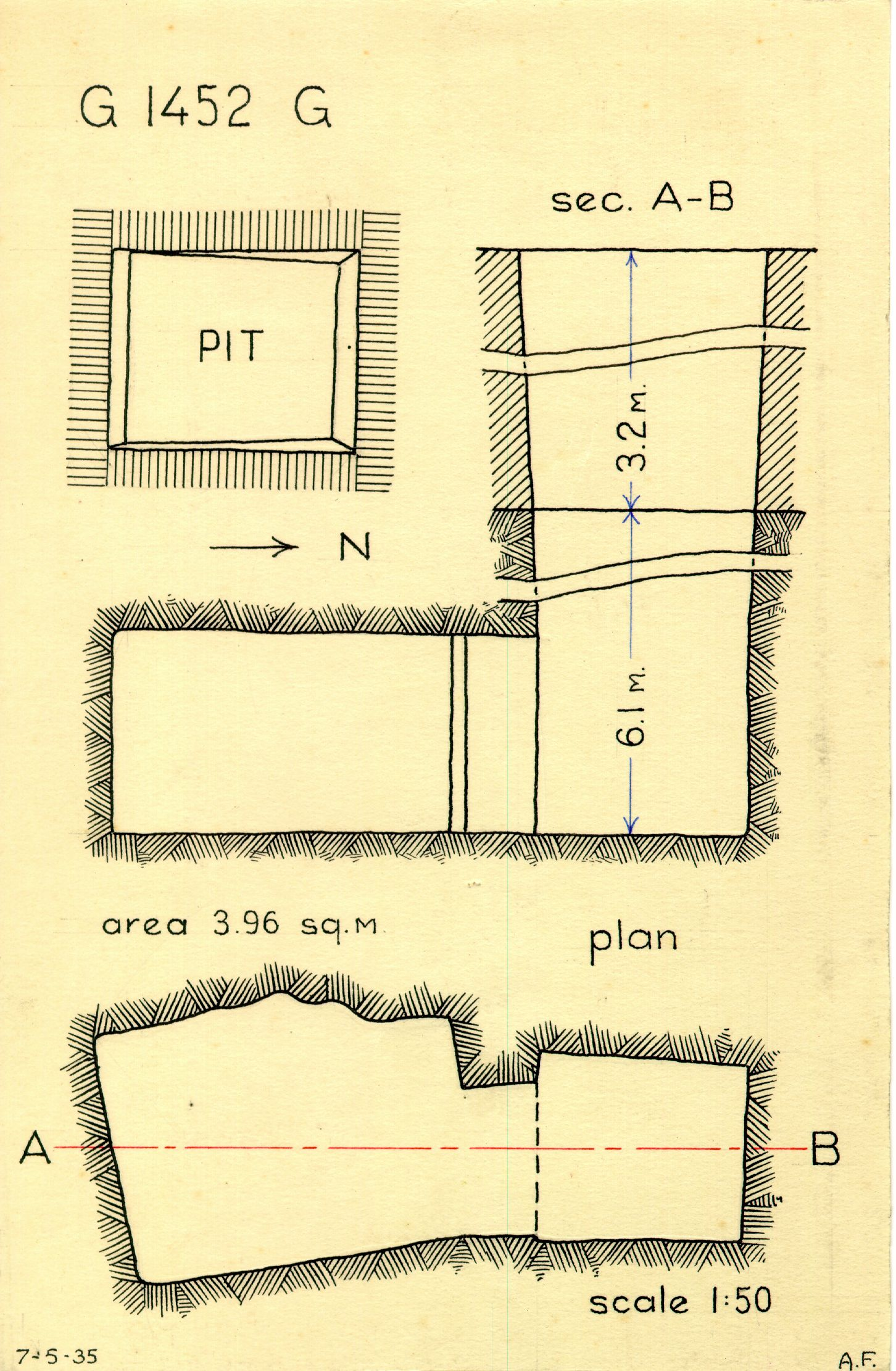 Maps and plans: G 1452+1453: G 1452, Shaft G