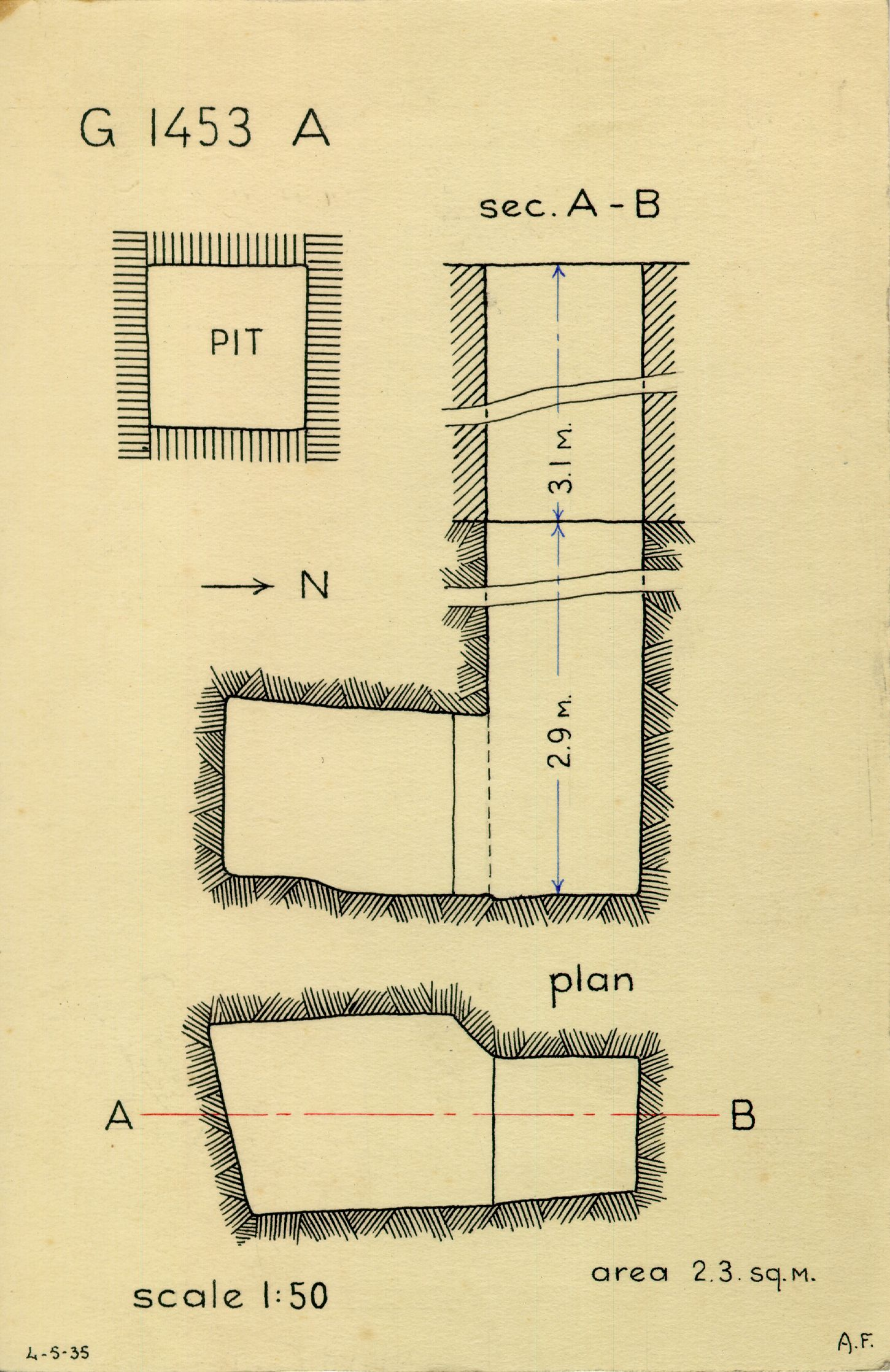 Maps and plans: G 1452+1453: G 1453, Shaft A