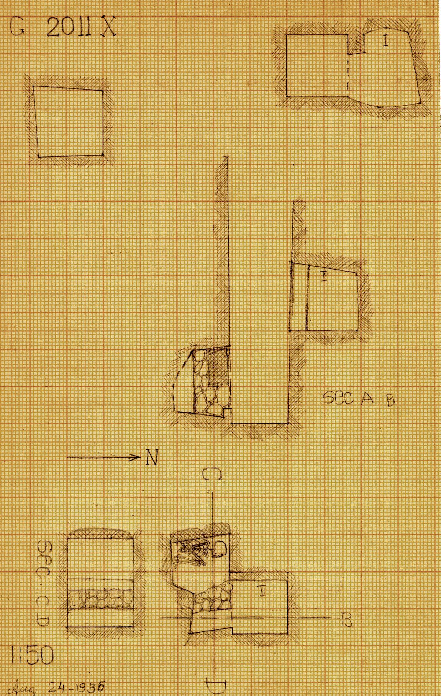 Maps and plans: G 2011, Shaft X (I & II)
