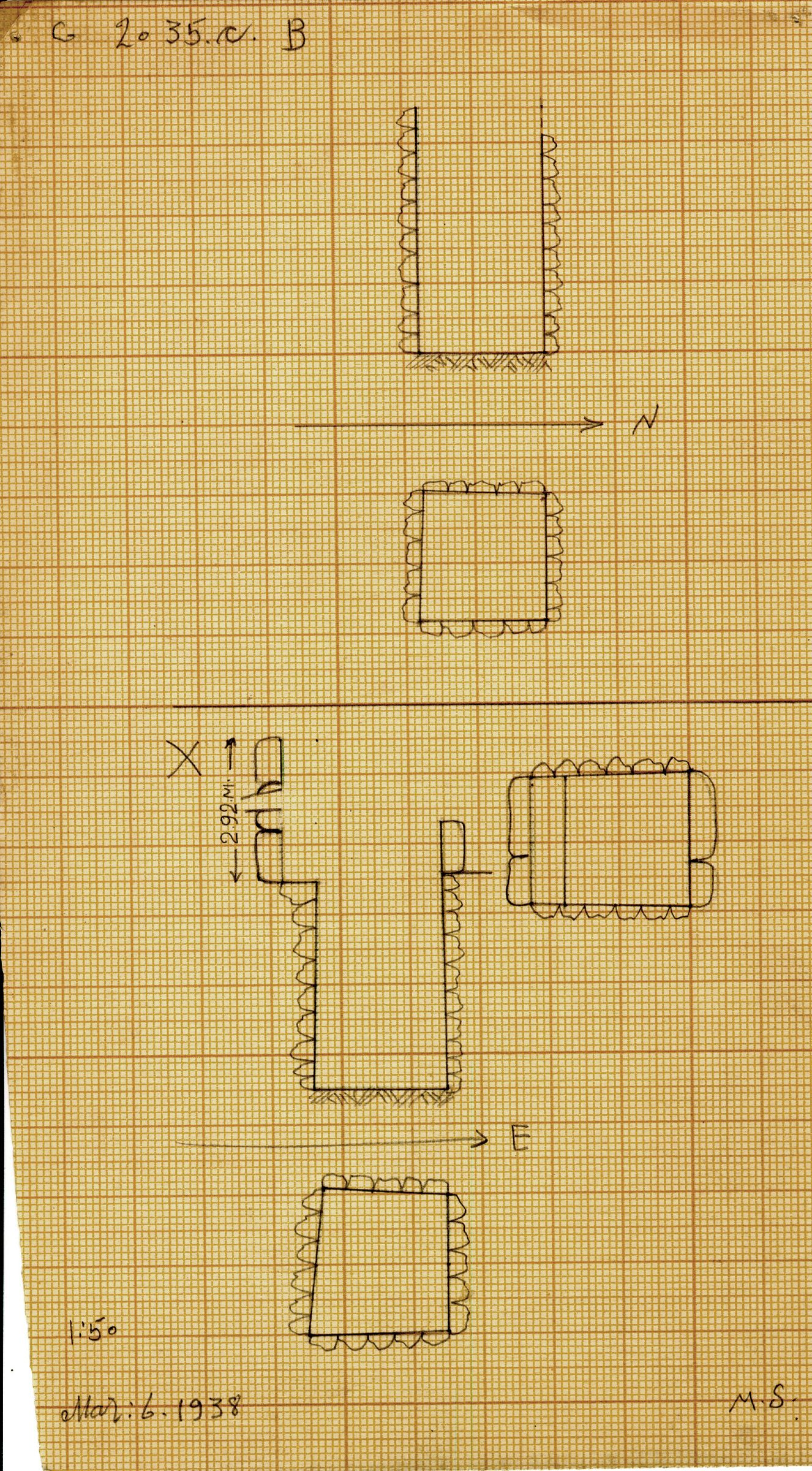 Maps and plans: G 2035c, Shaft B and X