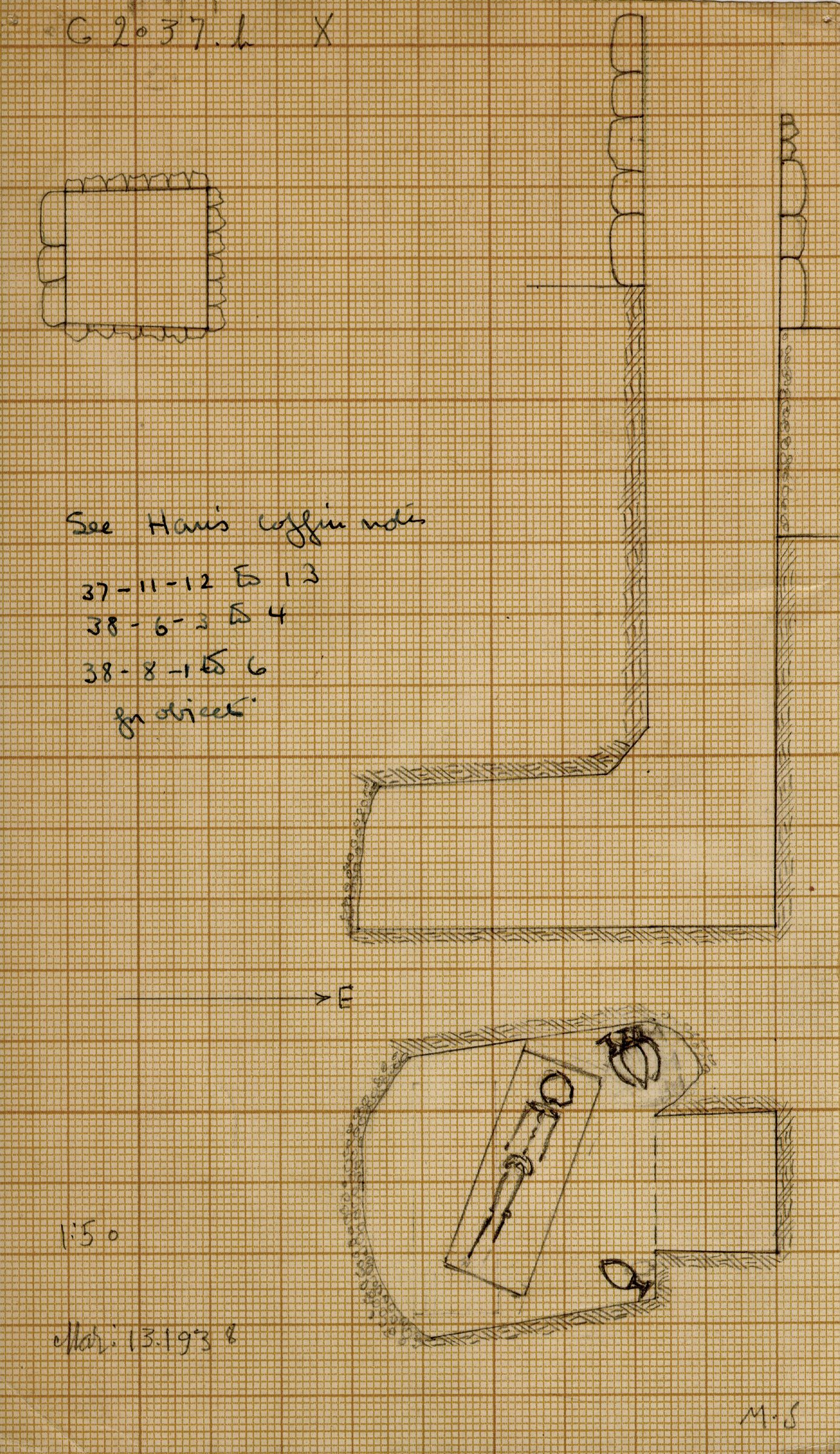 Maps and plans: G 2037b, Shaft X