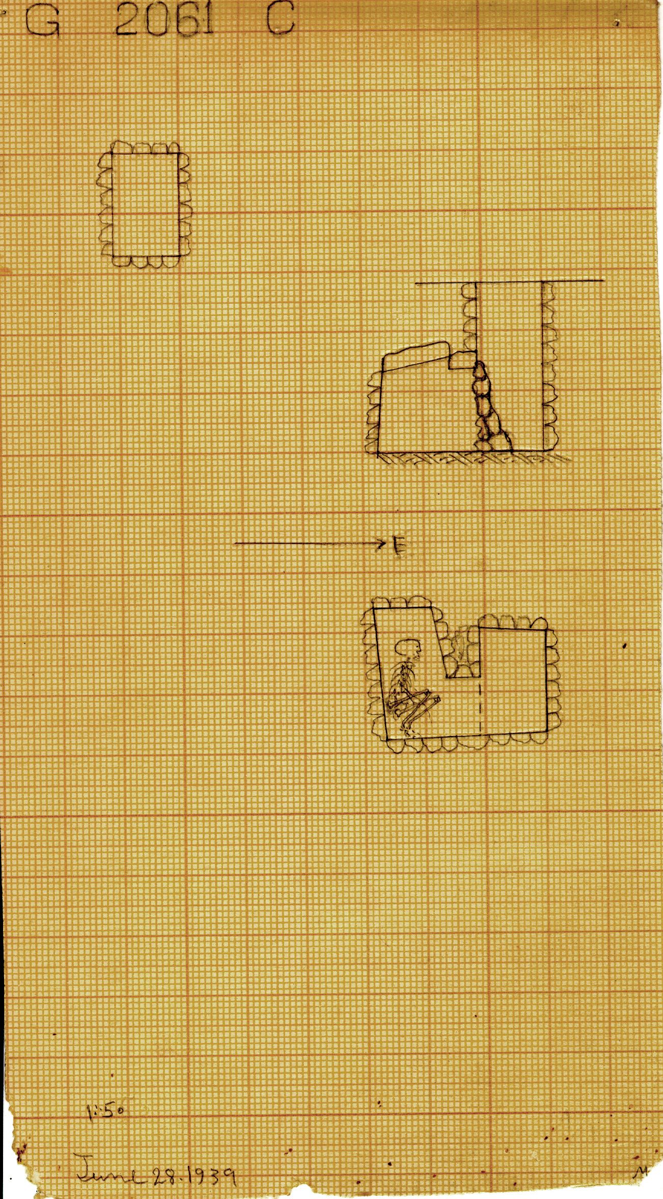 Maps and plans: G 2061, Shaft C