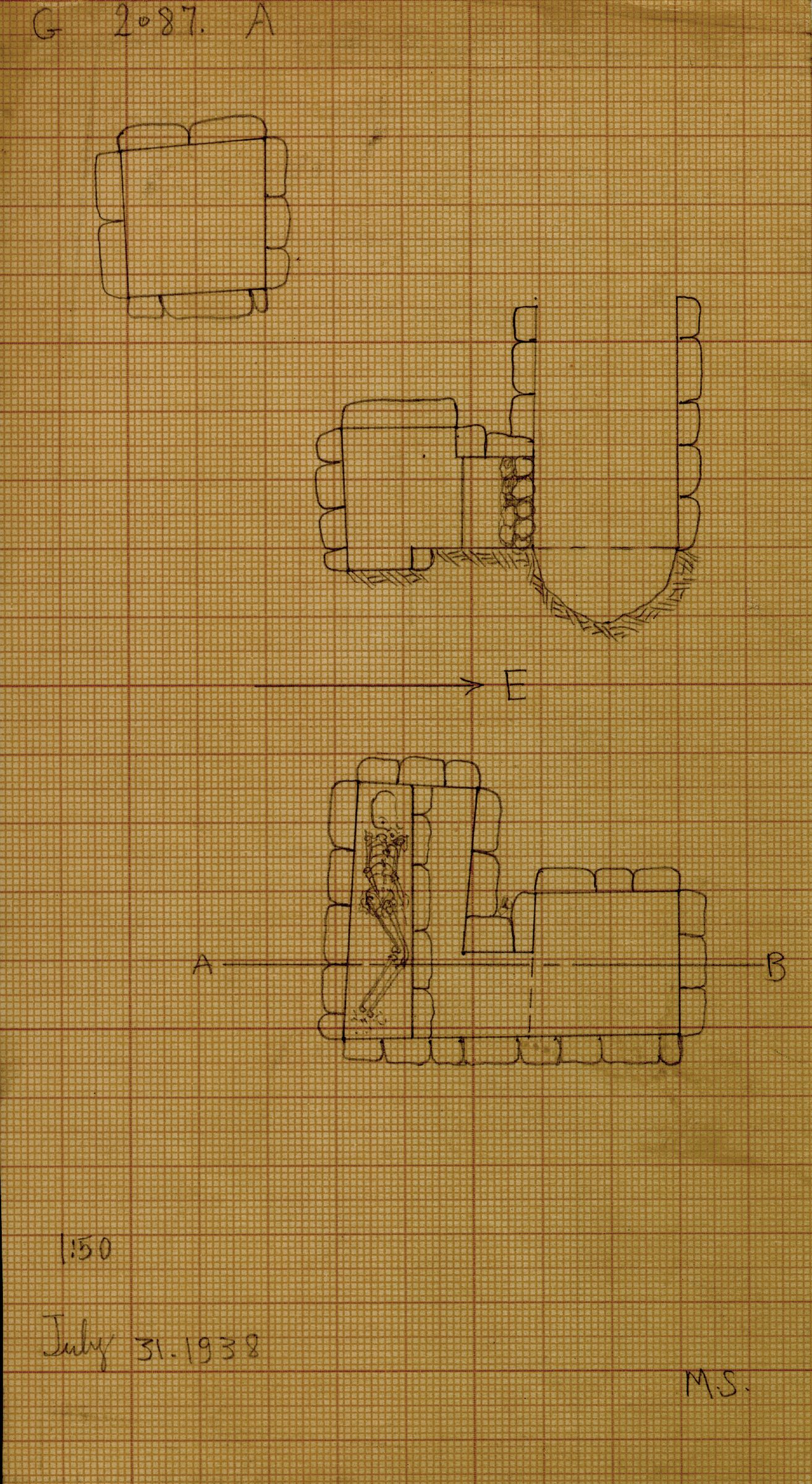 Maps and plans: G 2087, Shaft A
