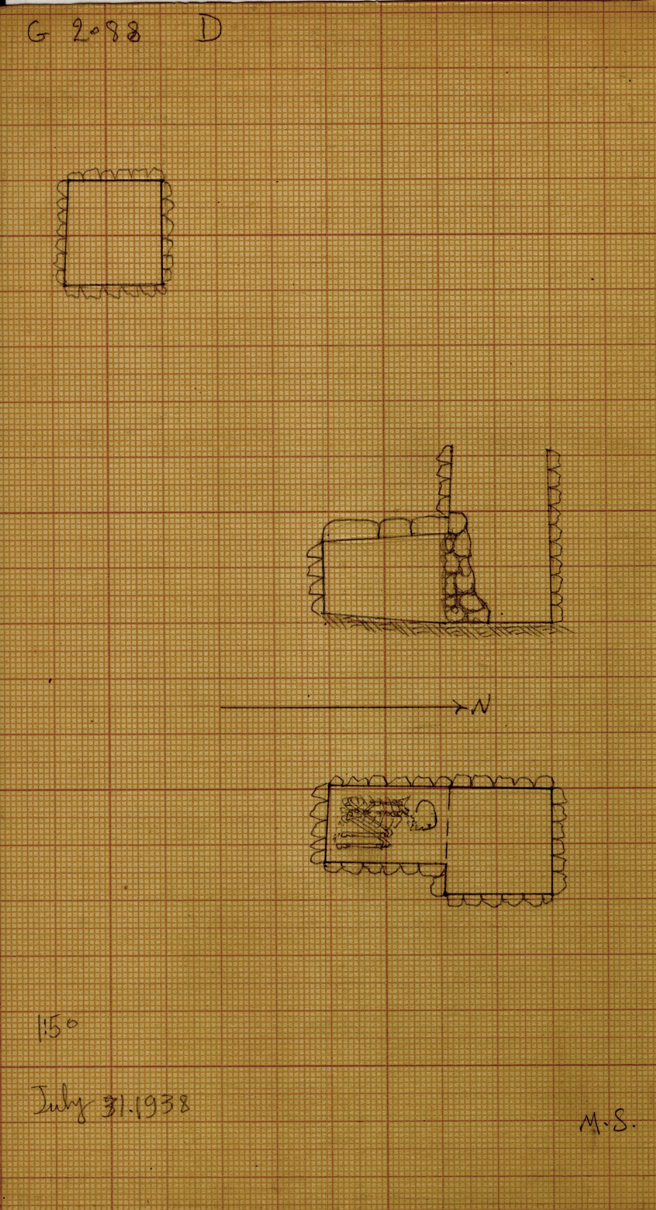 Maps and plans: G 2088, Shaft D