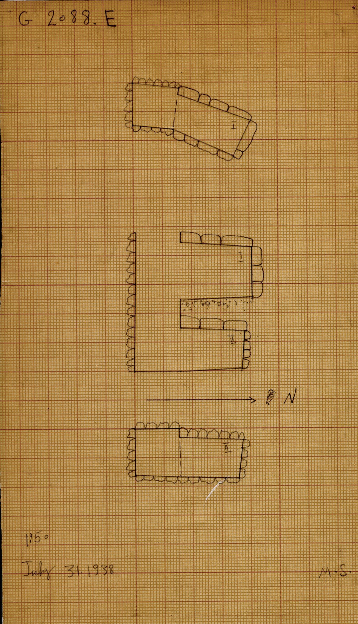 Maps and plans: G 2088, Shaft E