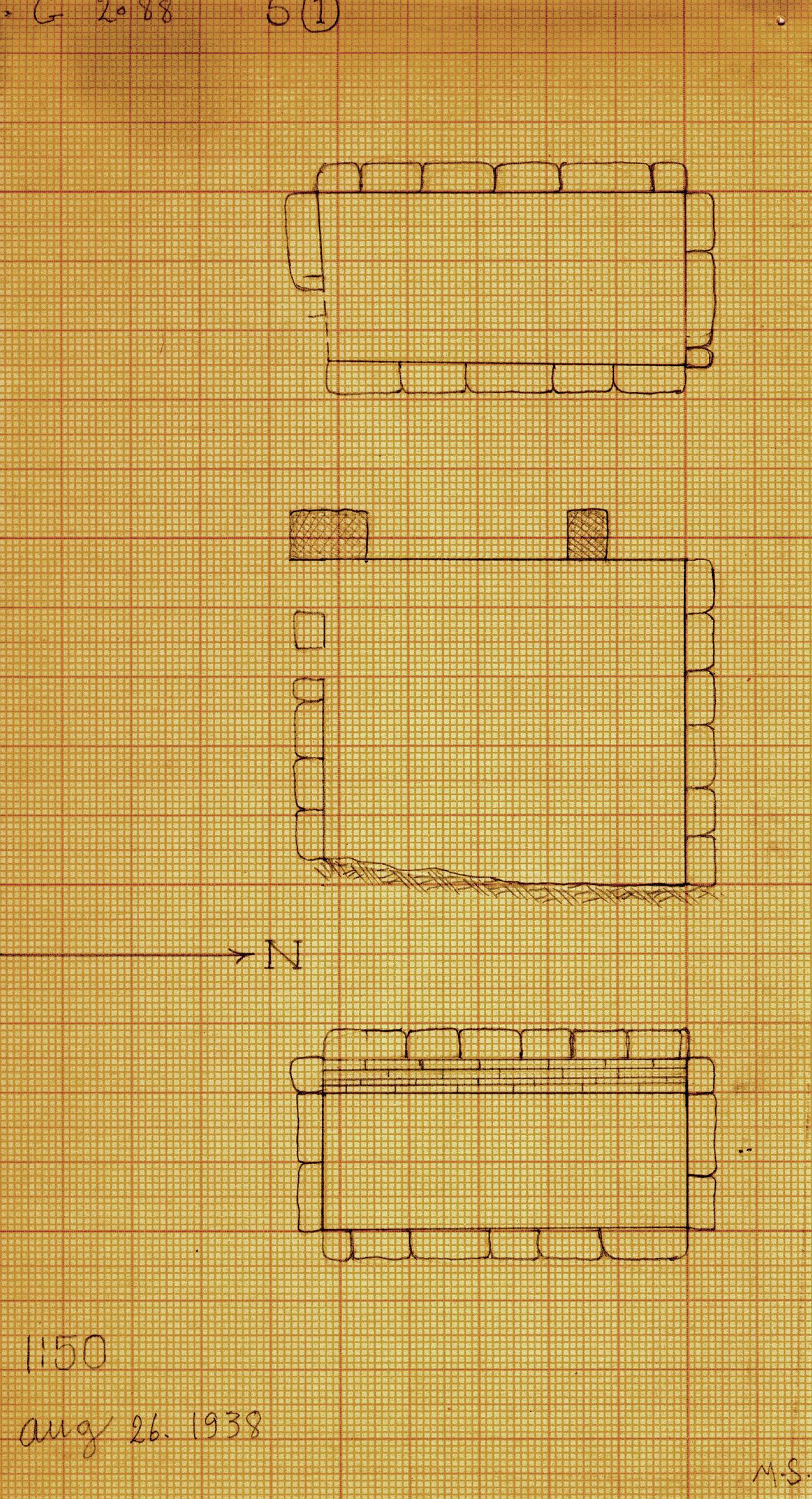 Maps and plans: G 2088, Serdab 1