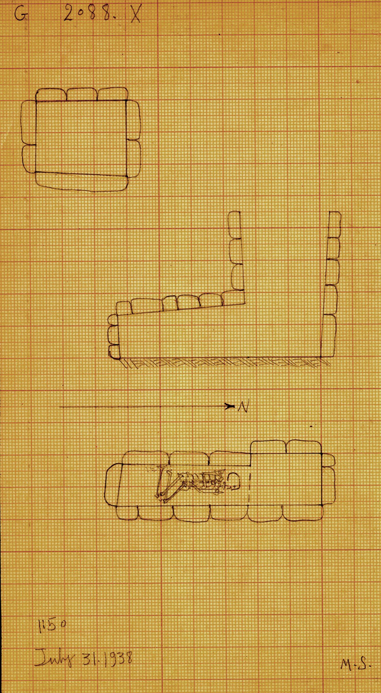 Maps and plans: G 2088, Shaft X