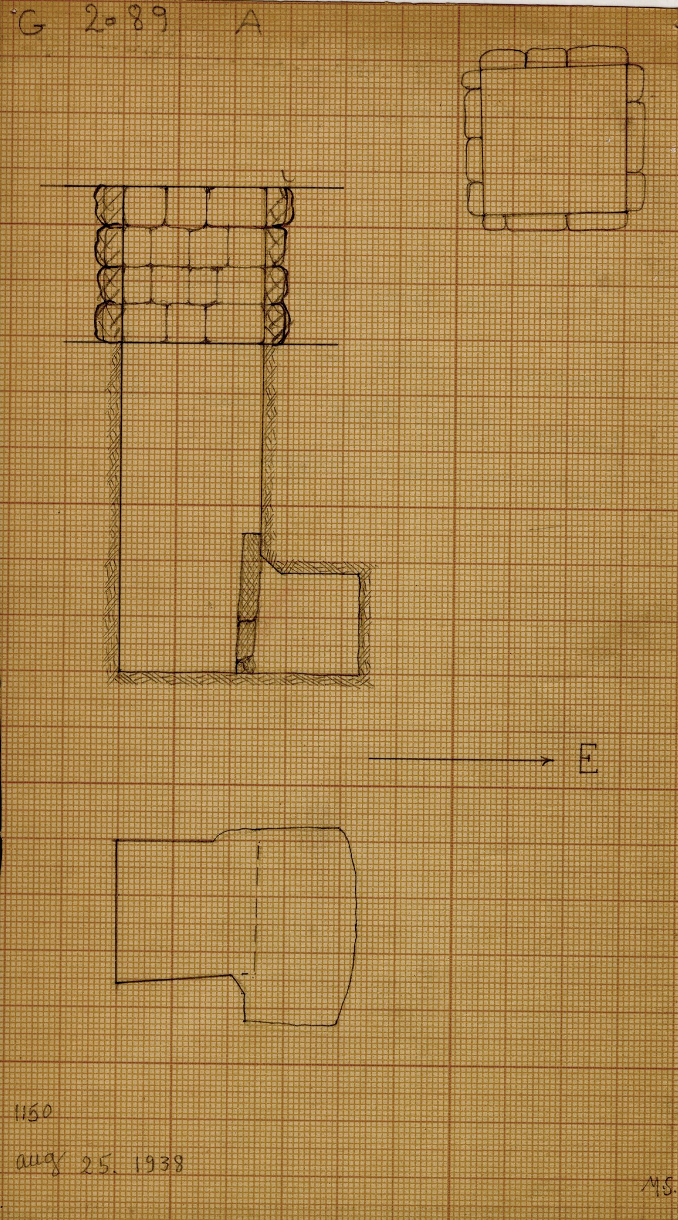 Maps and plans: G 2089, Shaft A
