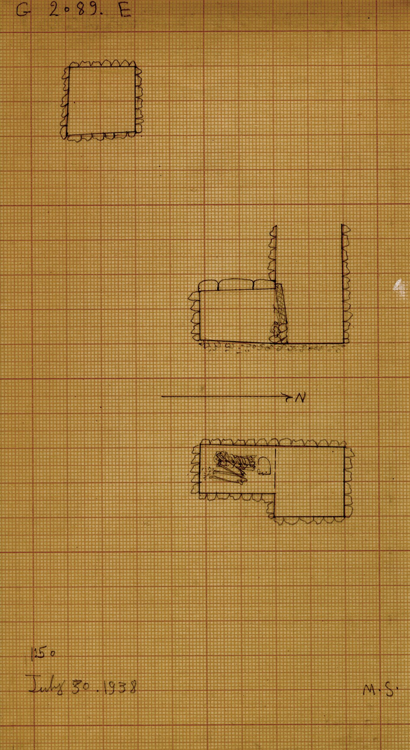 Maps and plans: G 2089, Shaft E