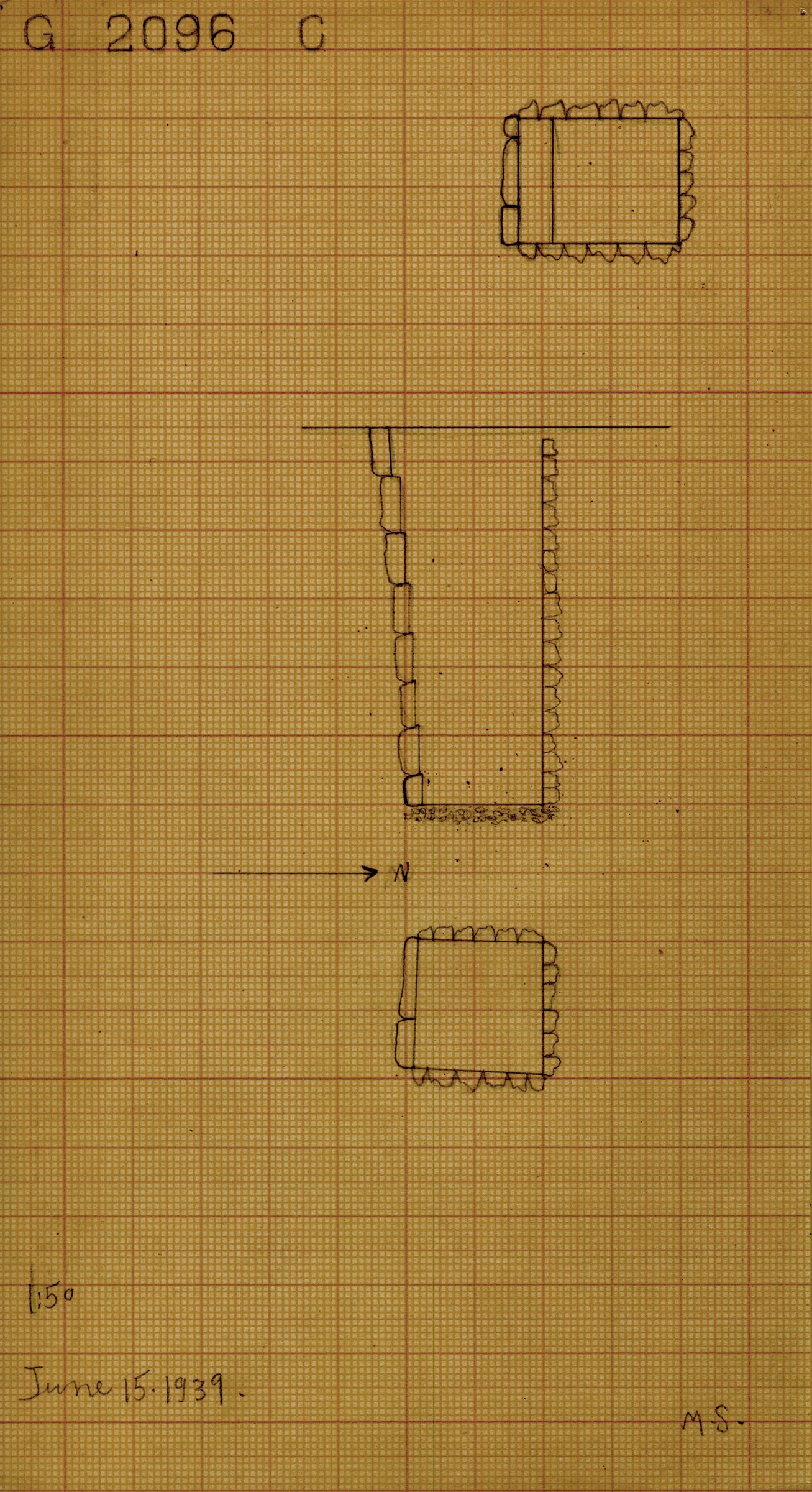 Maps and plans: G 2096, Shaft C