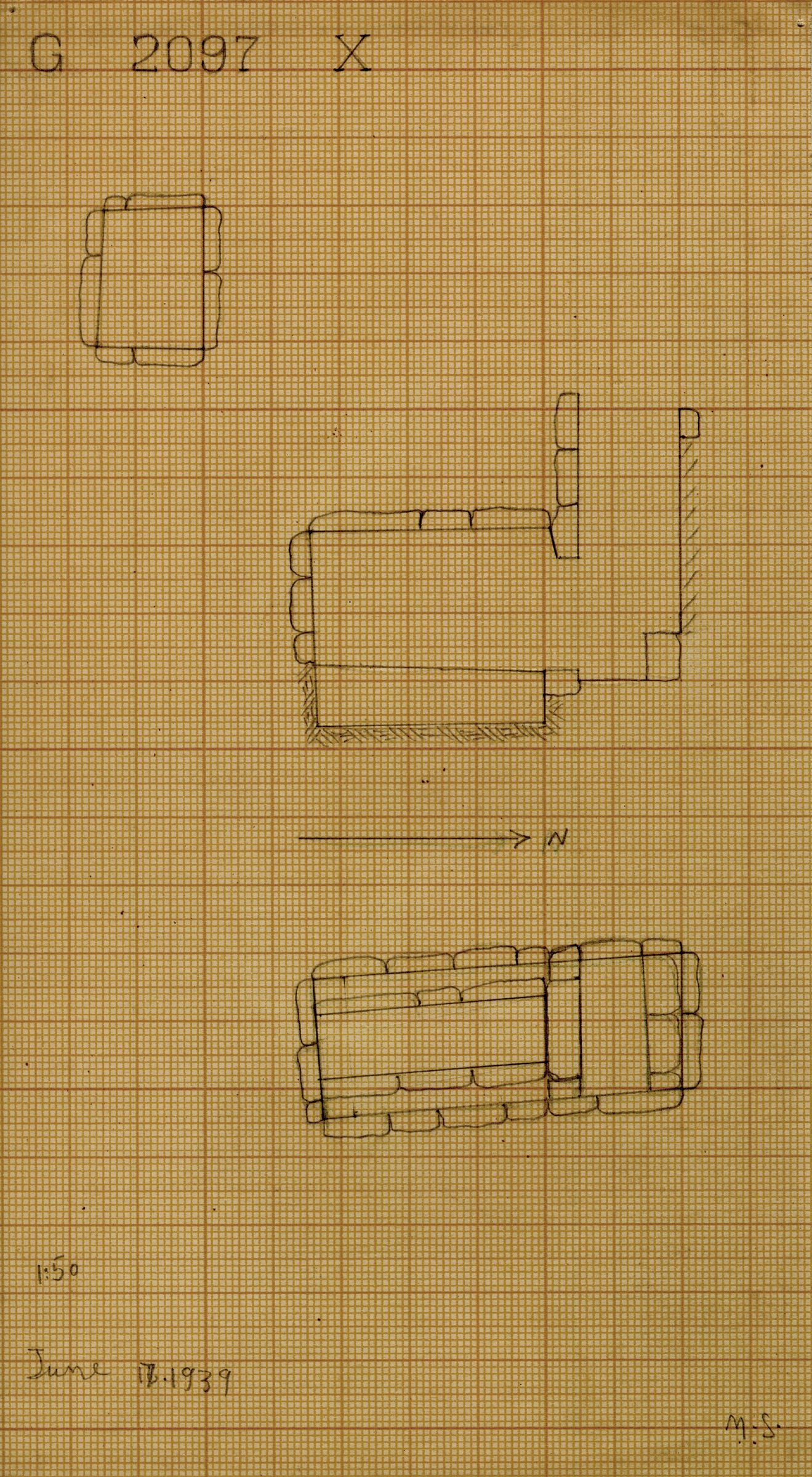 Maps and plans: G 2097, Shaft X