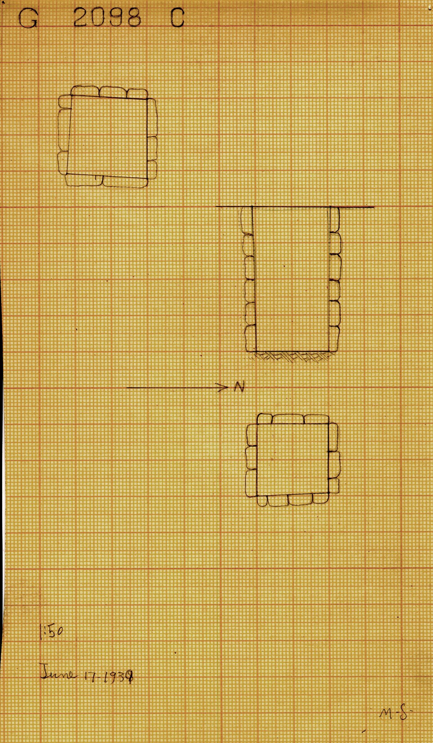 Maps and plans: G 2098, Shaft C