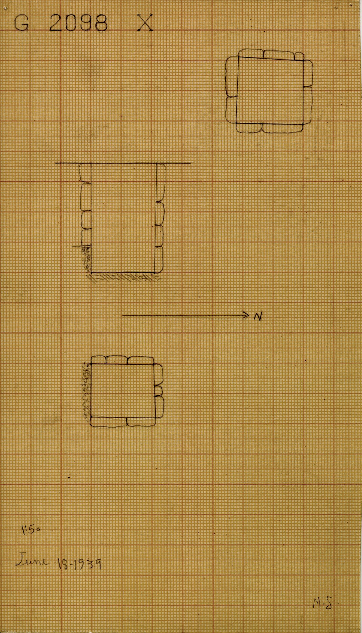 Maps and plans: G 2098, Shaft X