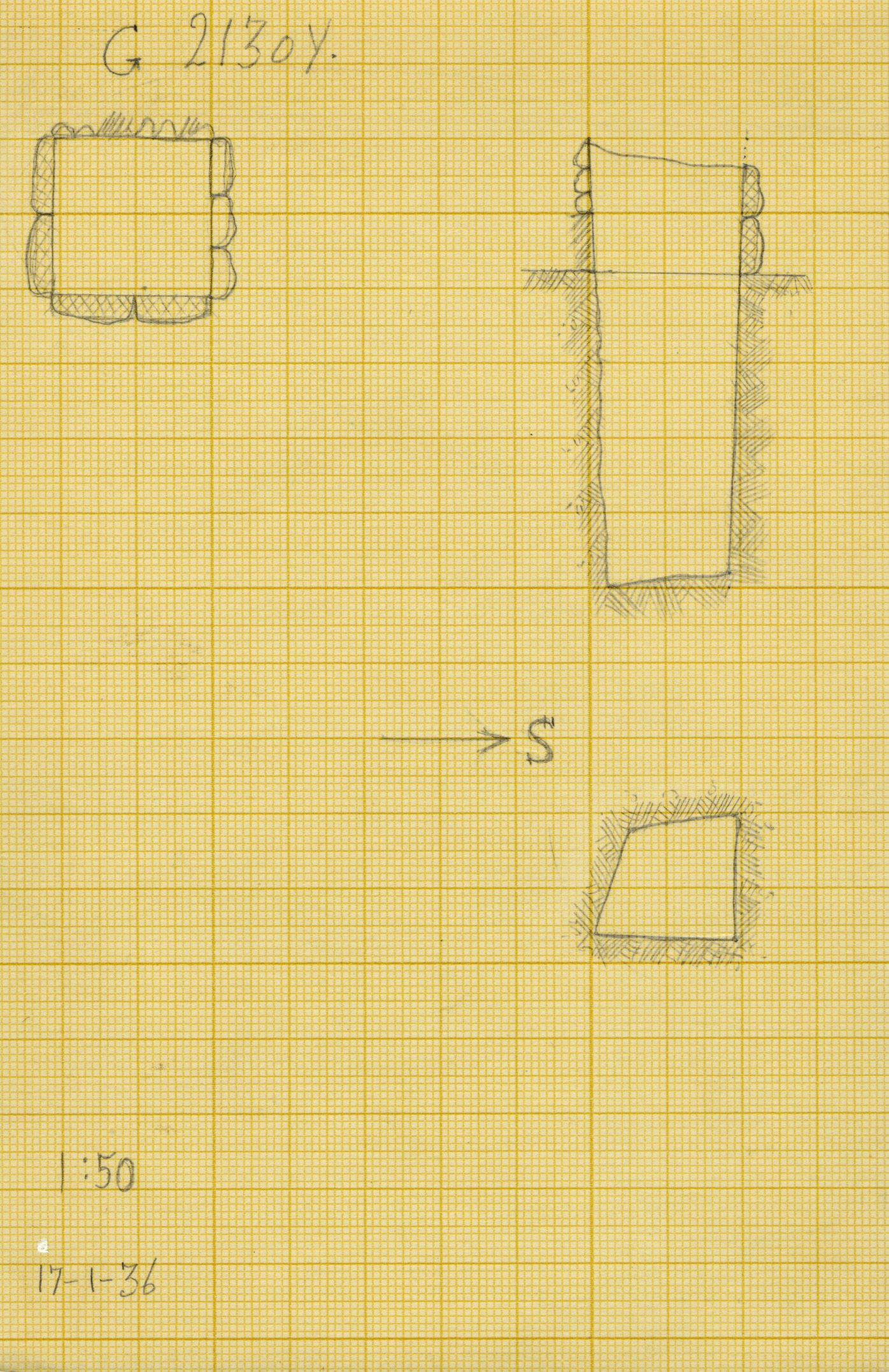 Maps and plans: G 2130, Shaft Y