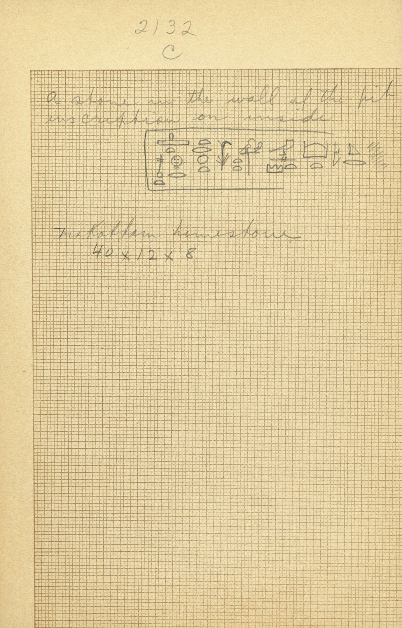 Drawings: G 2132, Shaft C, inscription notes