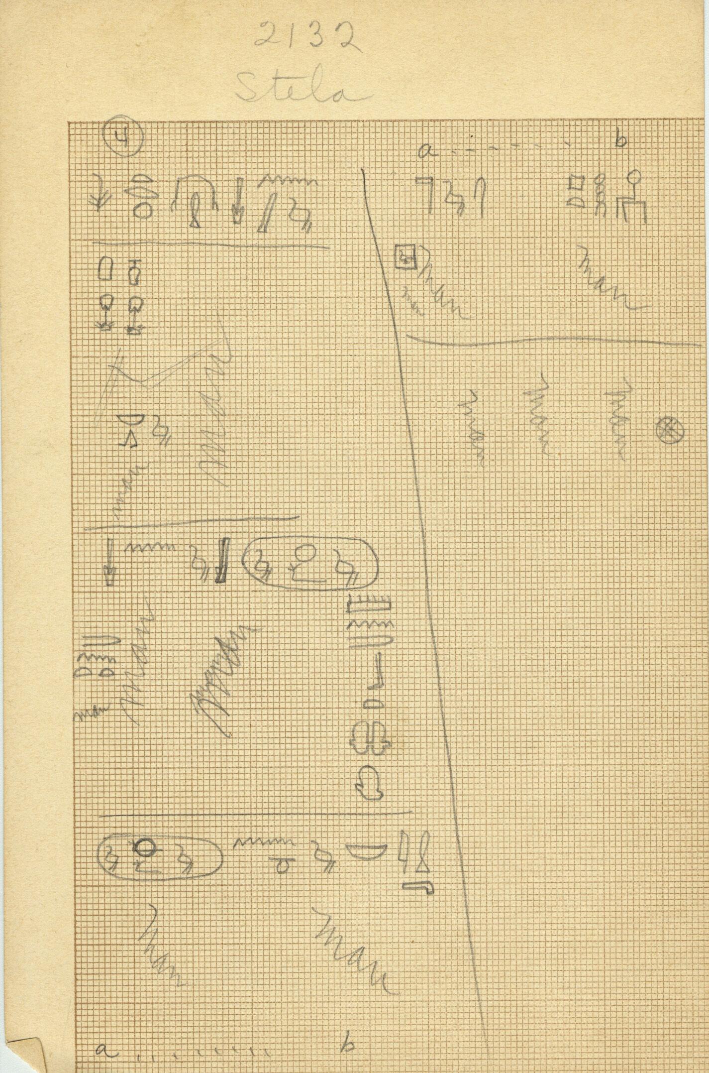 Drawings: G 2132, False door inscription notes
