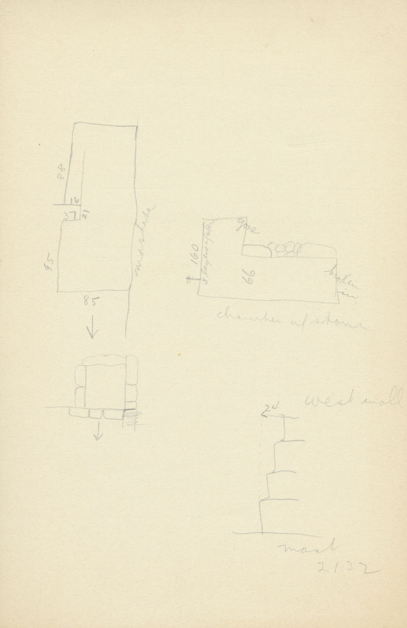 Maps and plans: G 2132, Shaft Y, notes