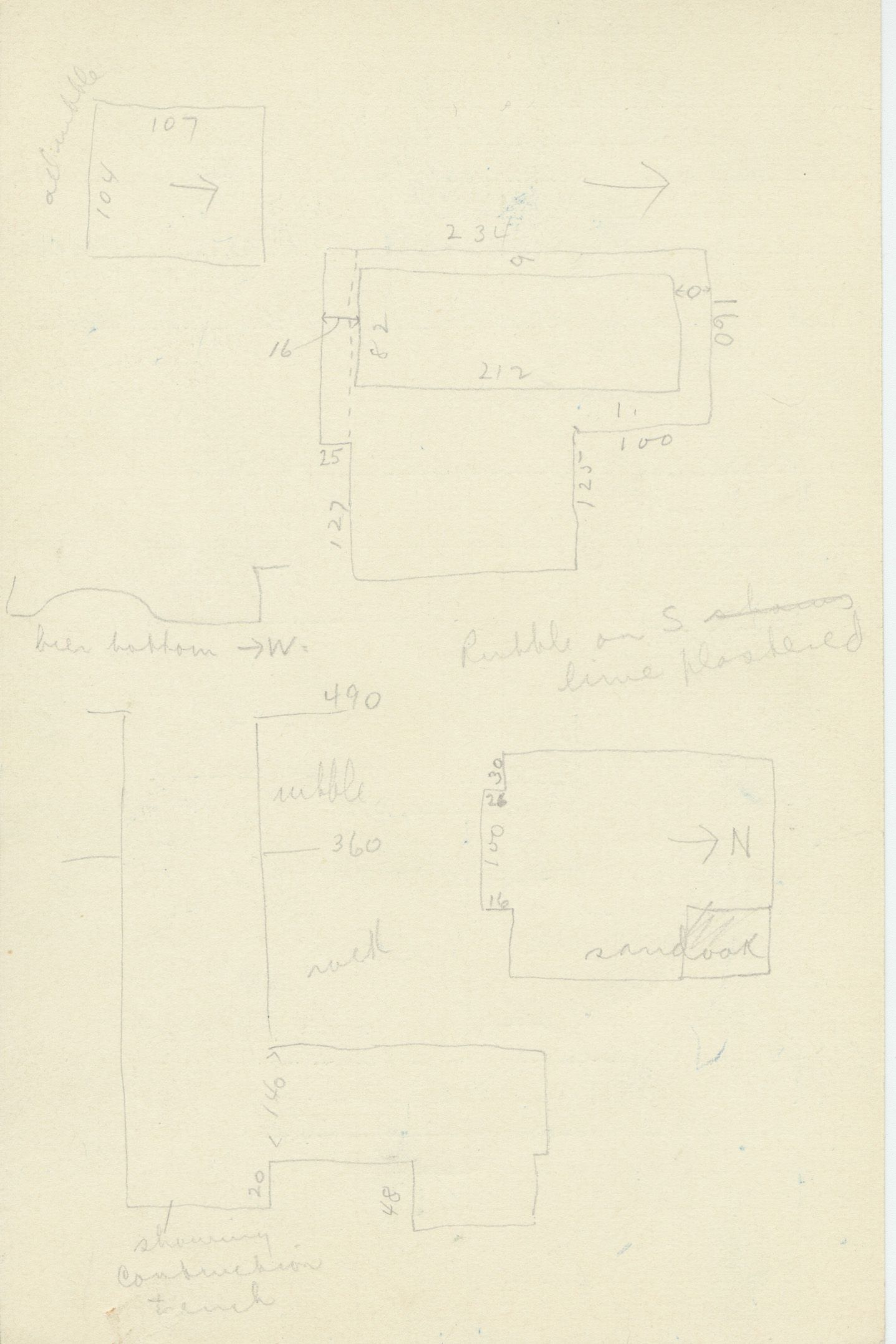 Maps and plans: G 2175, Shaft D, notes