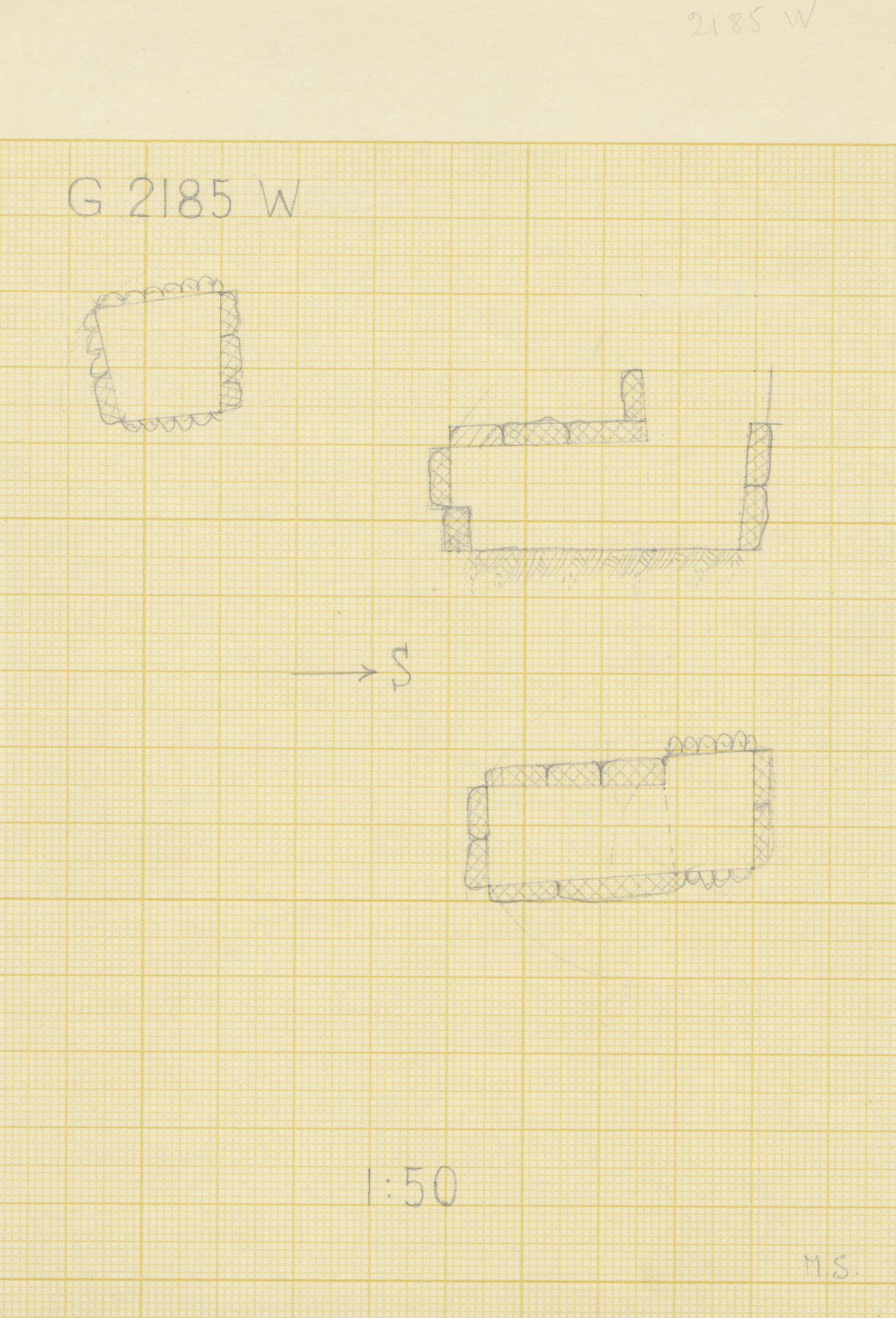 Maps and plans: G 2185, Shaft W