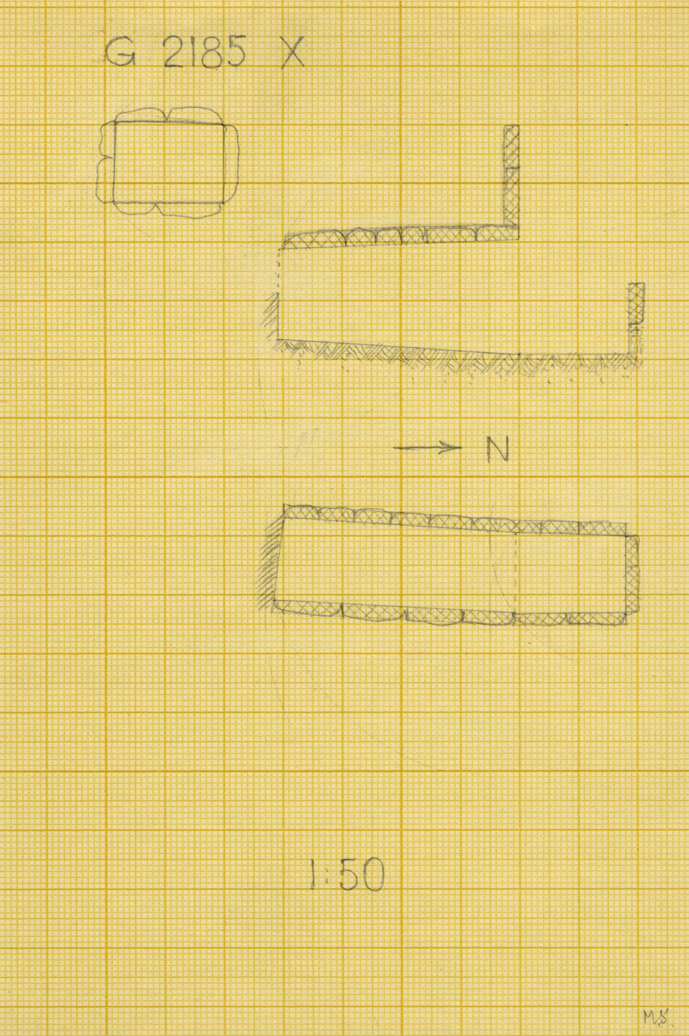 Maps and plans: G 2185, Shaft X