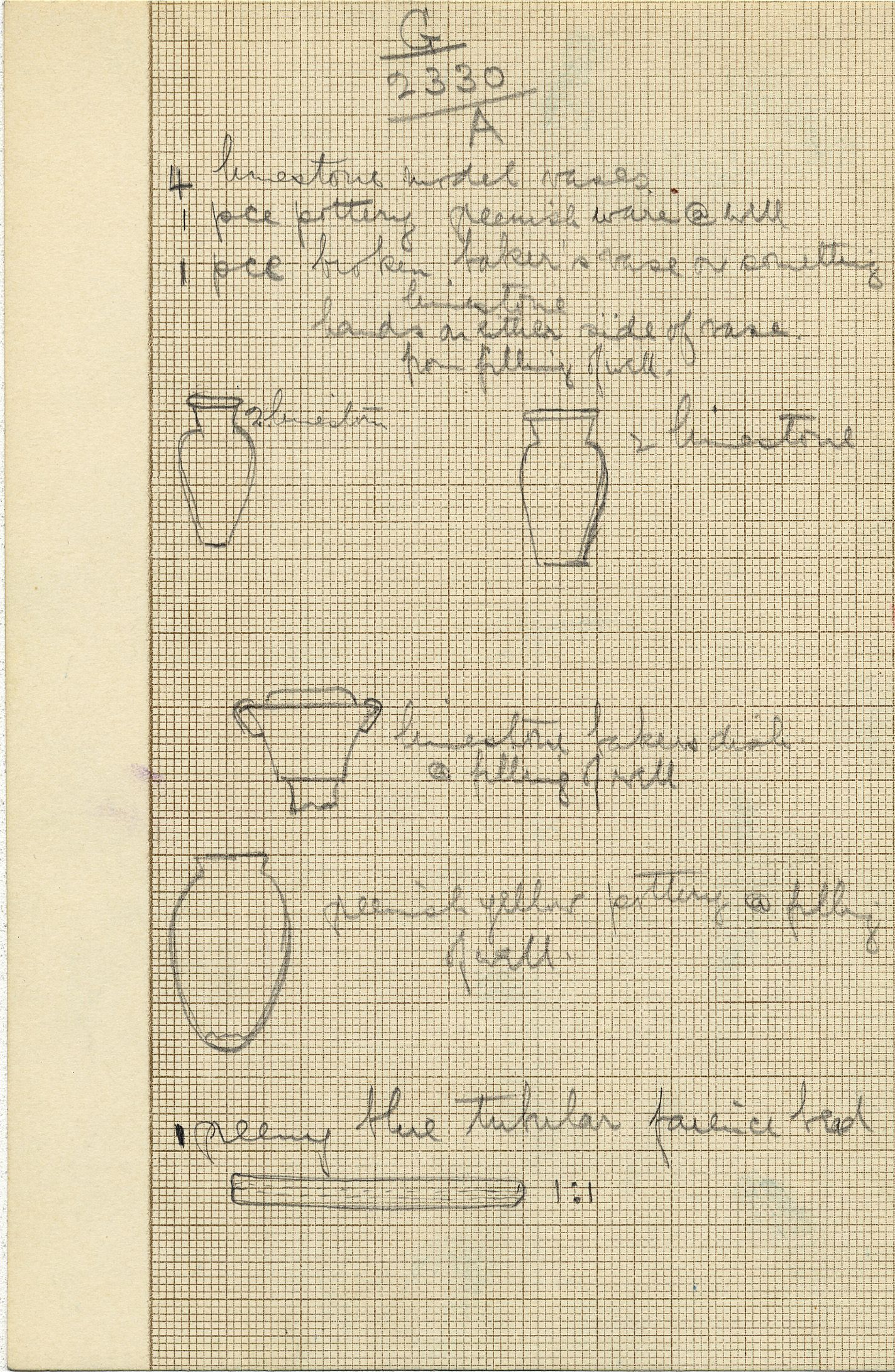 Drawings: G 2330 = G 5380, Shaft A, objects
