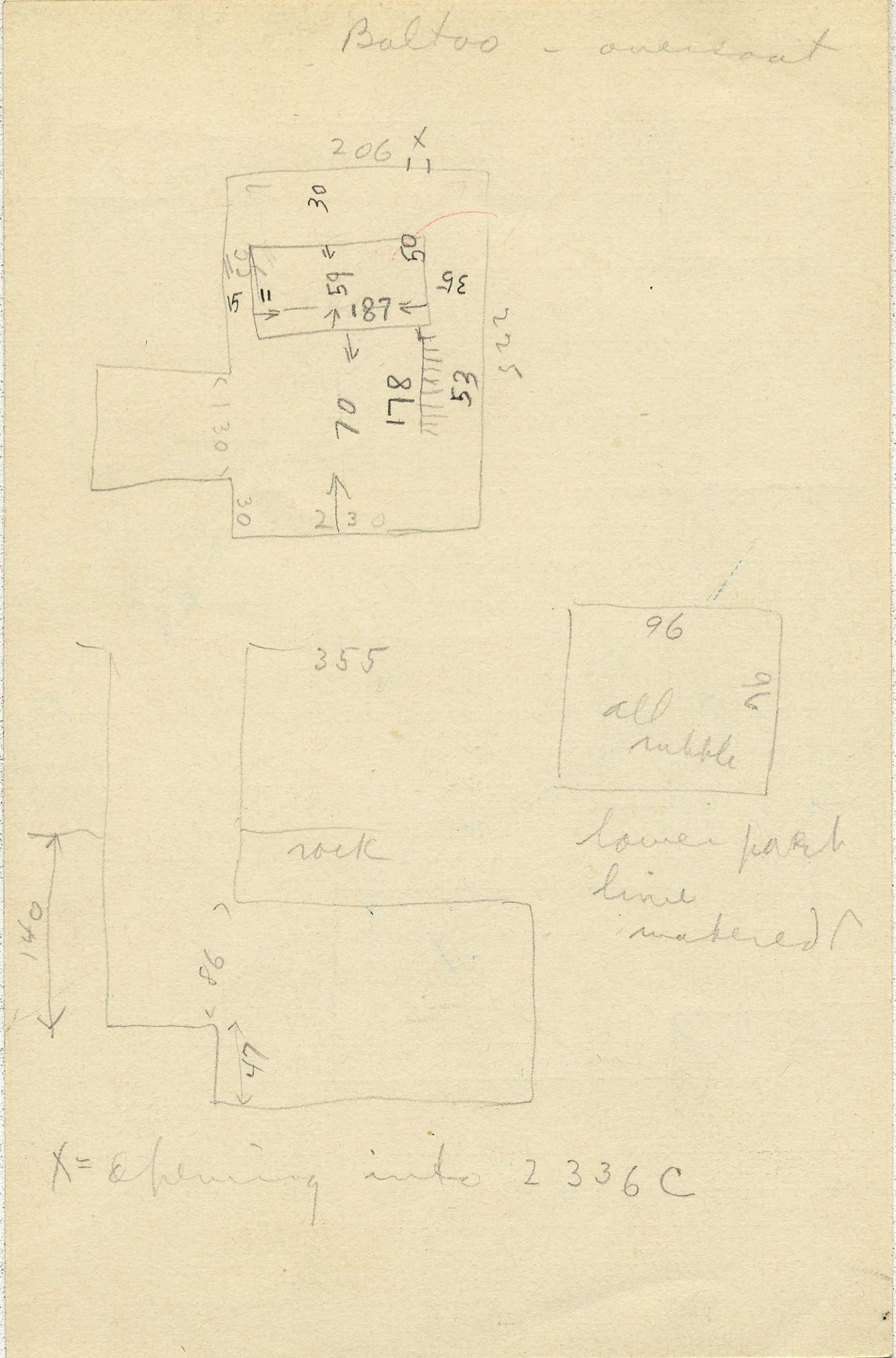 Maps and plans: G 2336, Shaft B, notes