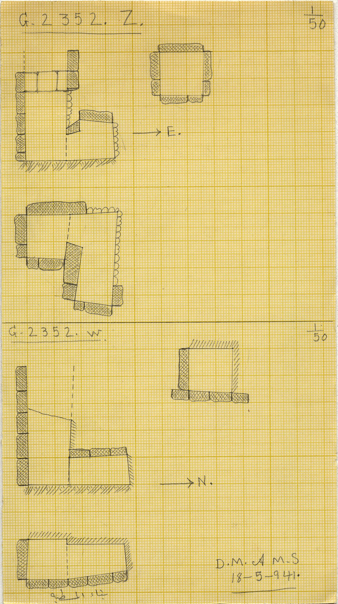 Maps and plans: G 2352, Shaft W and Z