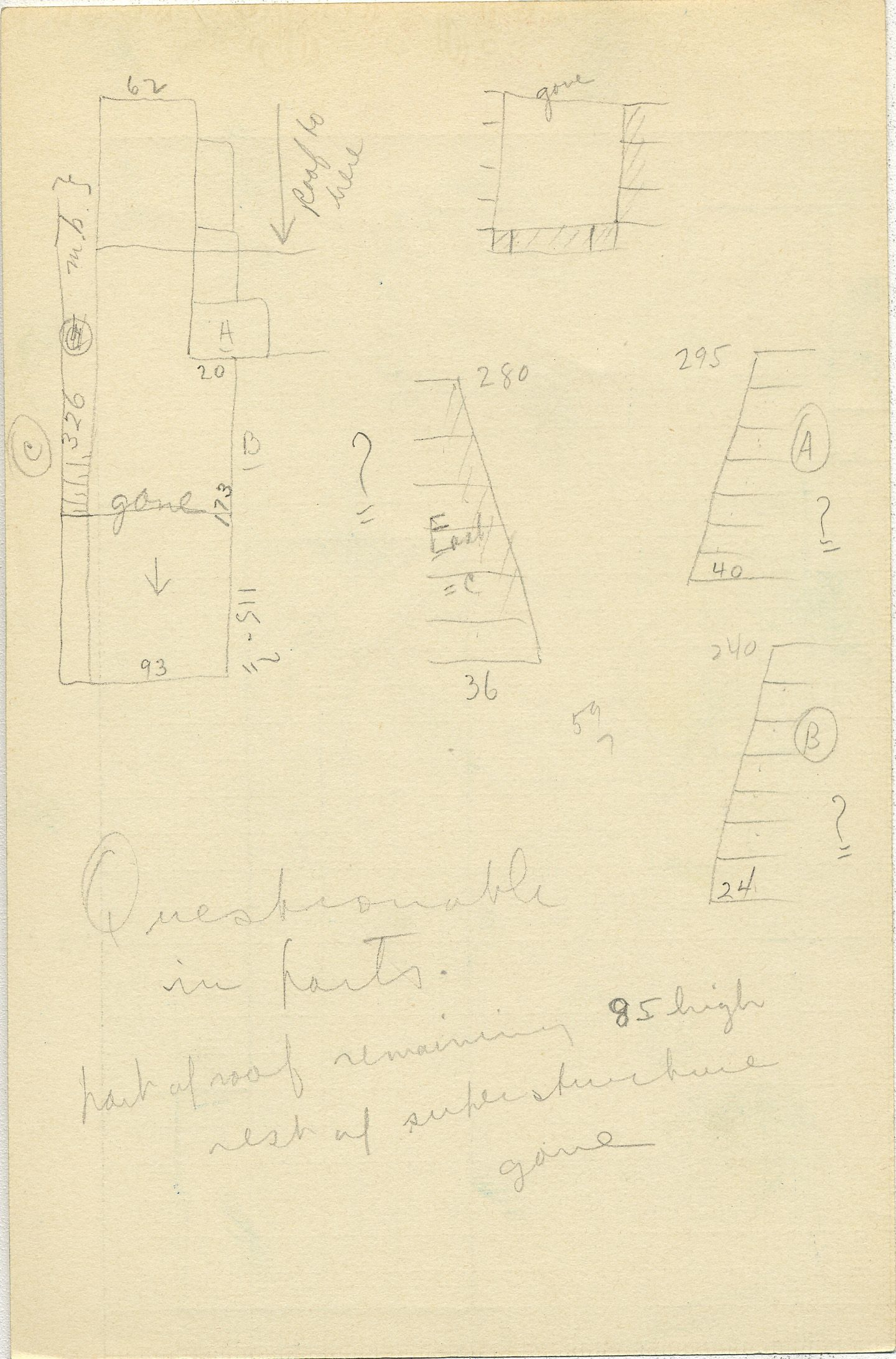 Maps and plans: G 2353, Shaft W, notes