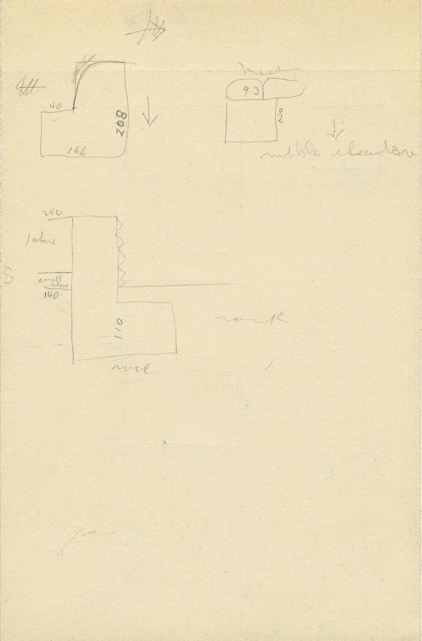Maps and plans: G 2361, Shaft X, notes