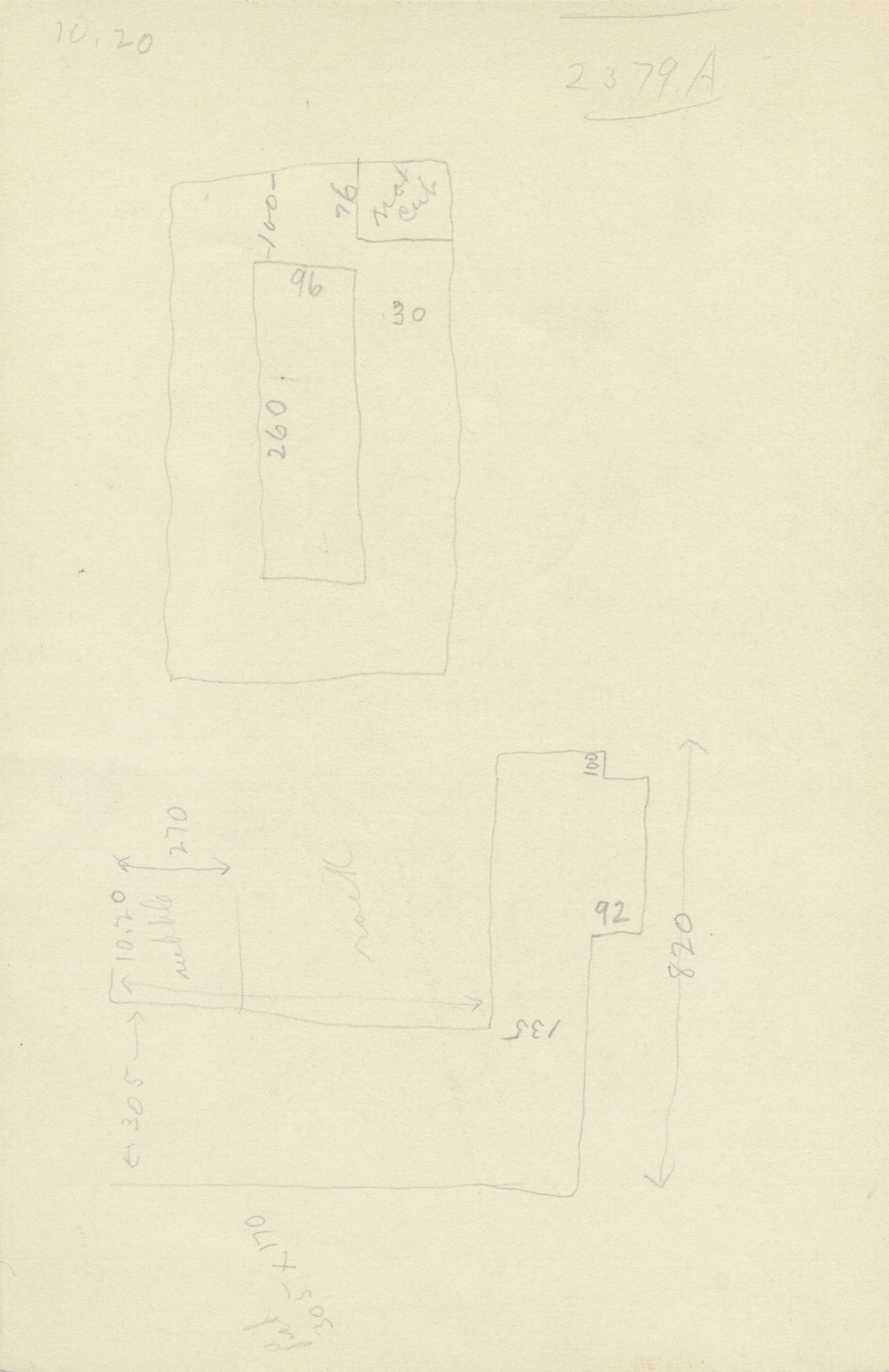Maps and plans: G 2379, Shaft A, notes
