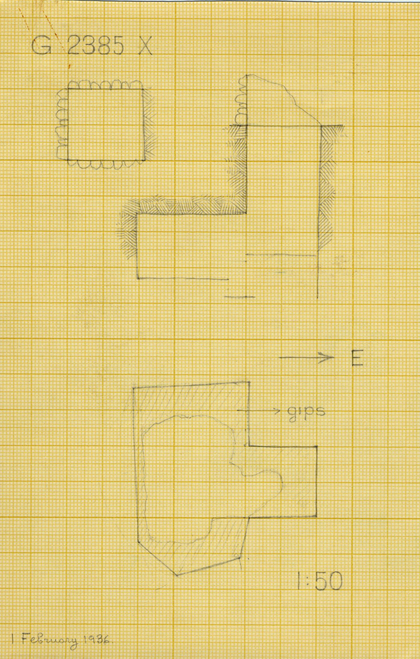Maps and plans: G 2385, Shaft X