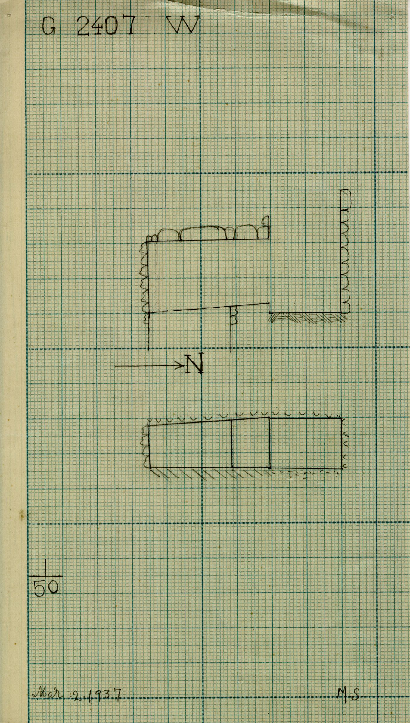Maps and plans: G 2407, Shaft W
