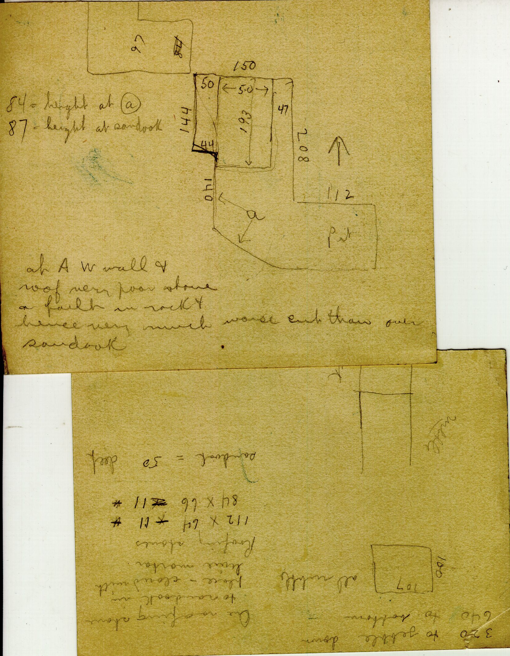 Maps and plans: G 2415, Shaft A, notes
