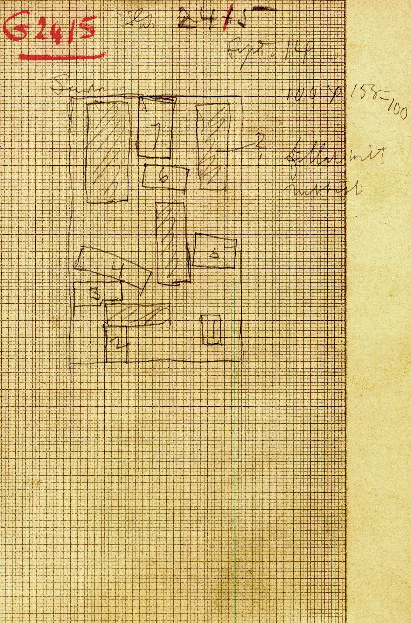 Maps and plans: G 2415, Serdab, statues, plan