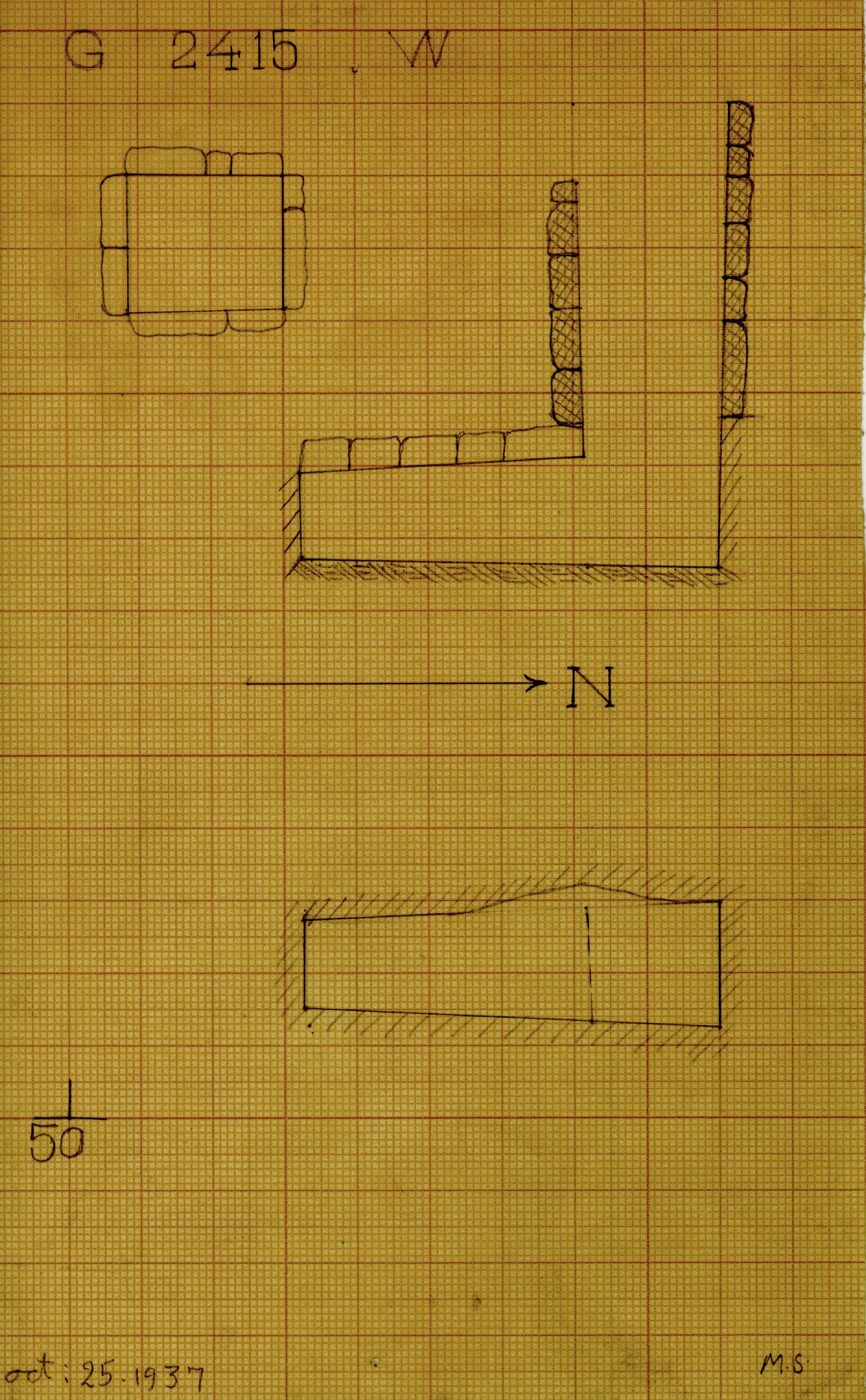 Maps and plans: G 2415, Shaft W