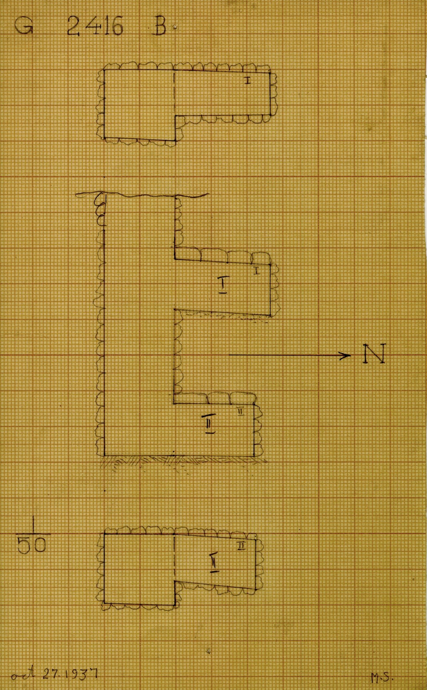 Maps and plans: G 2416, Shaft B
