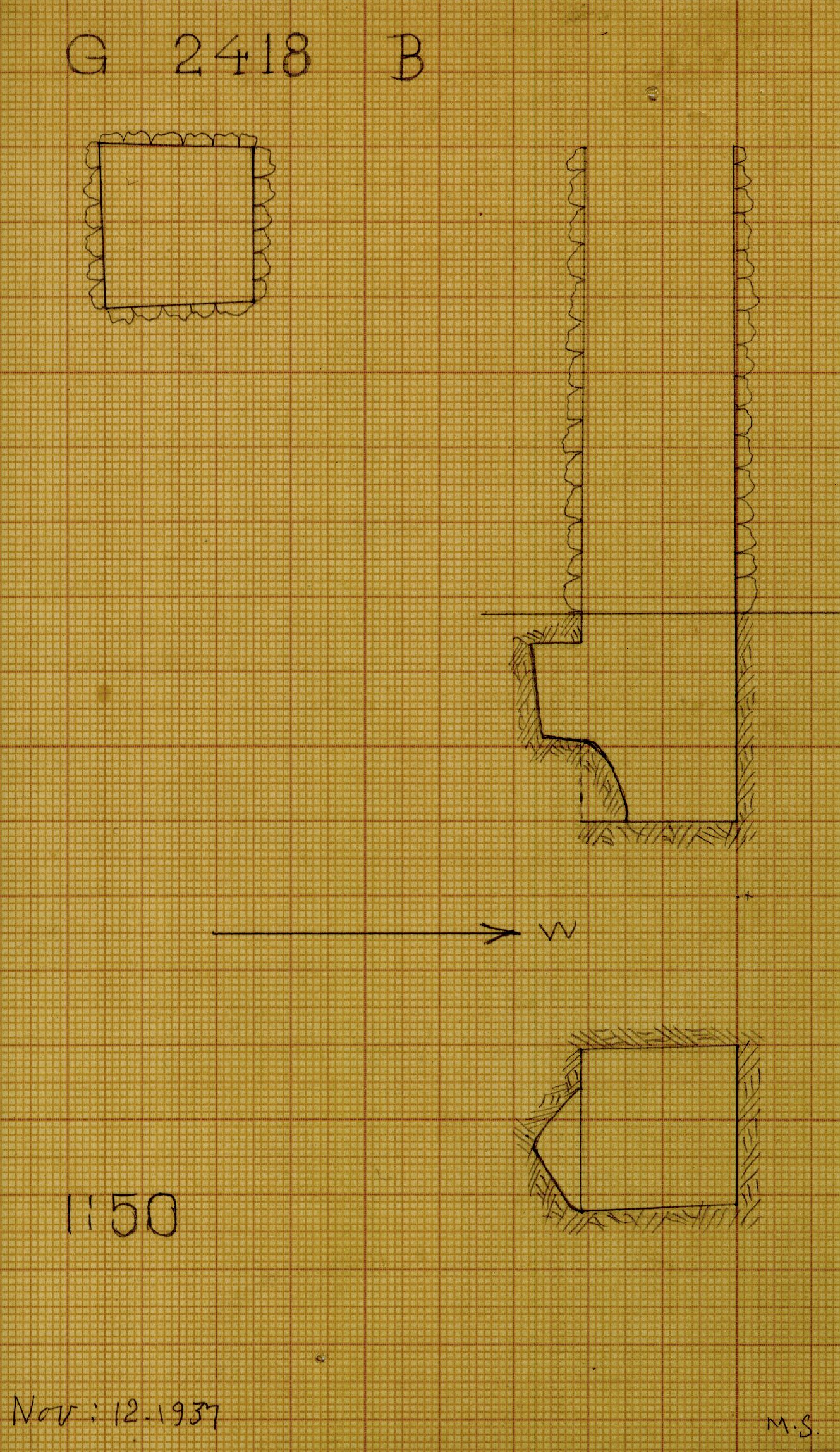 Maps and plans: G 2418, Shaft B