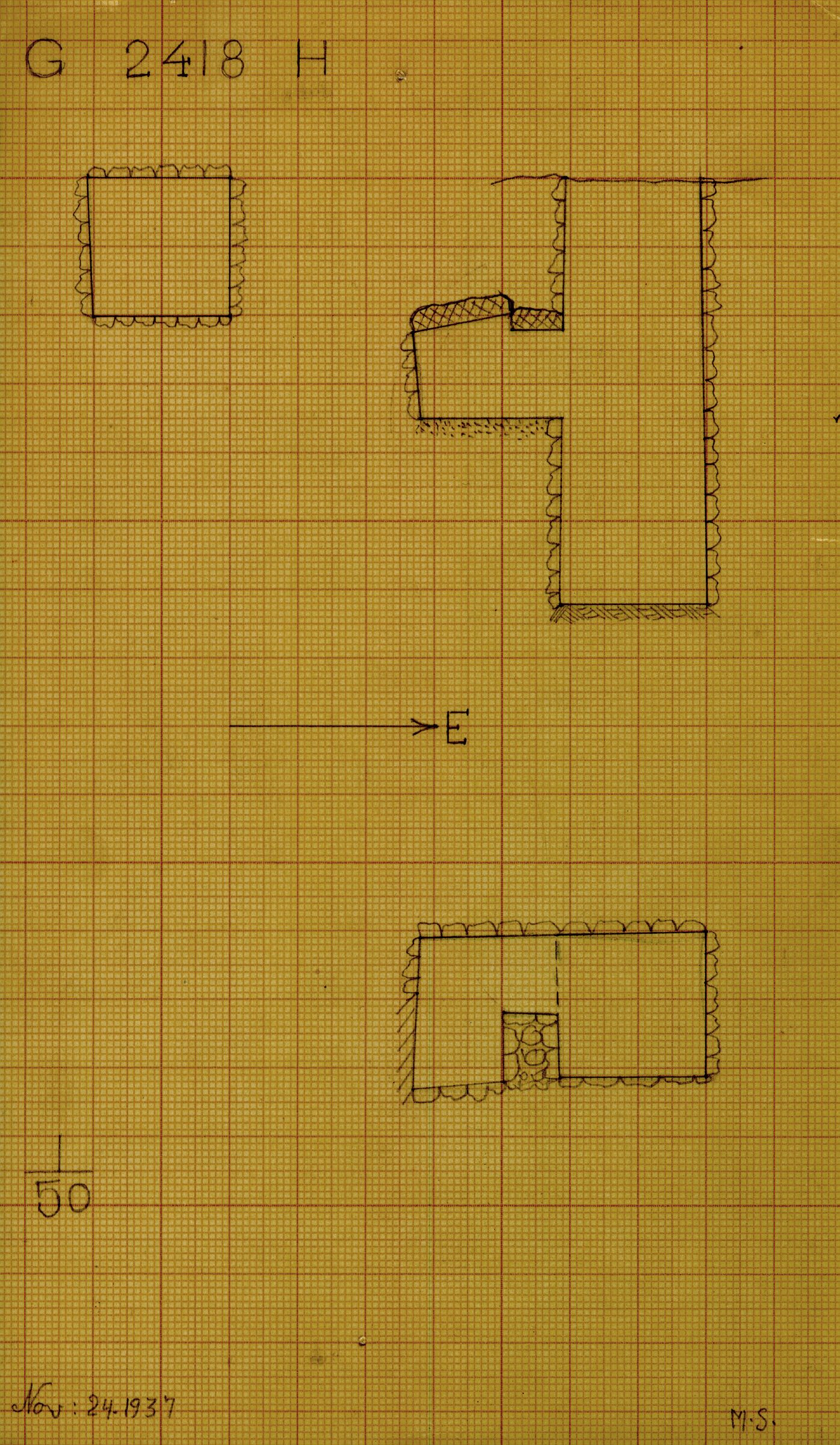 Maps and plans: G 2418, Shaft H