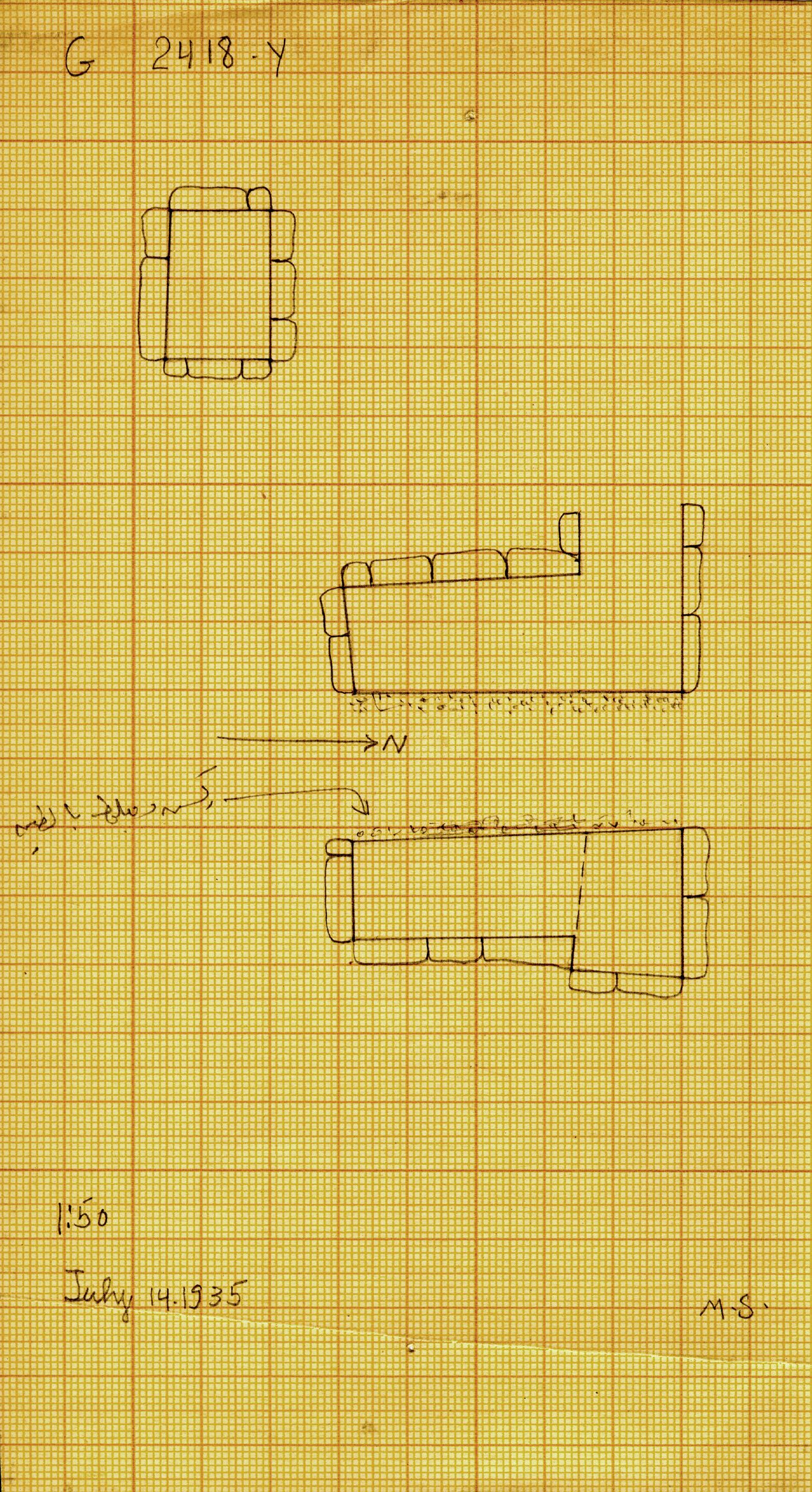 Maps and plans: G 2418, Shaft Y