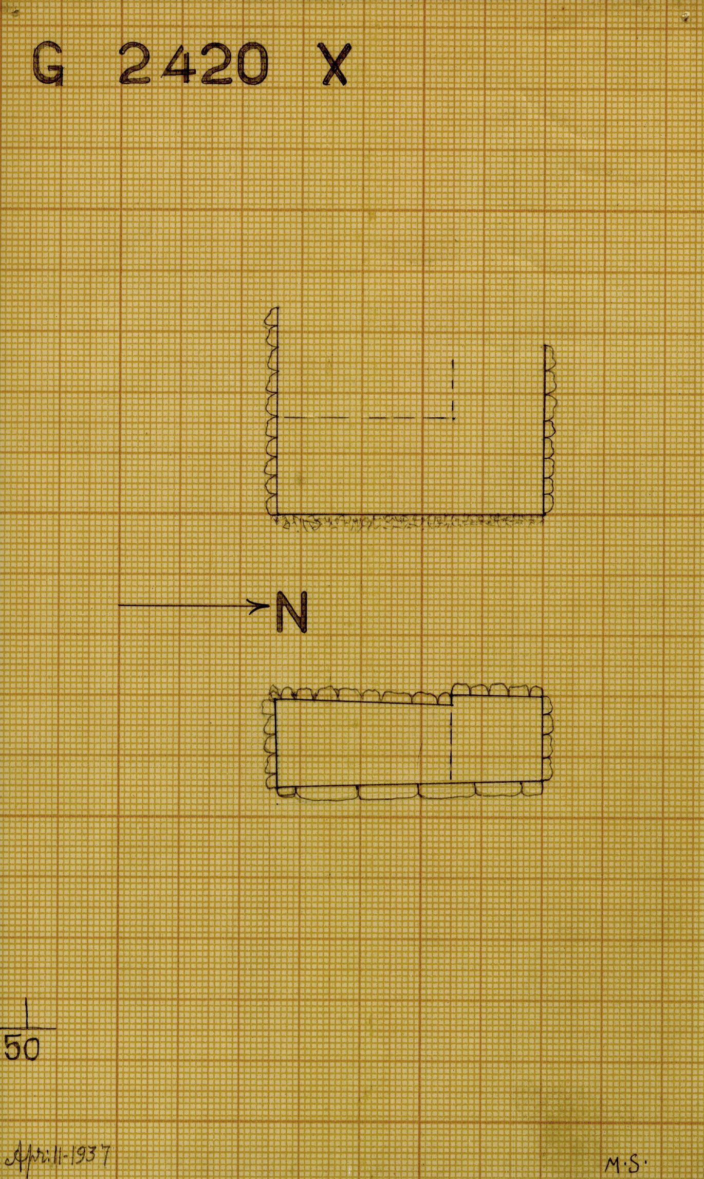 Maps and plans: G 2420, Shaft X