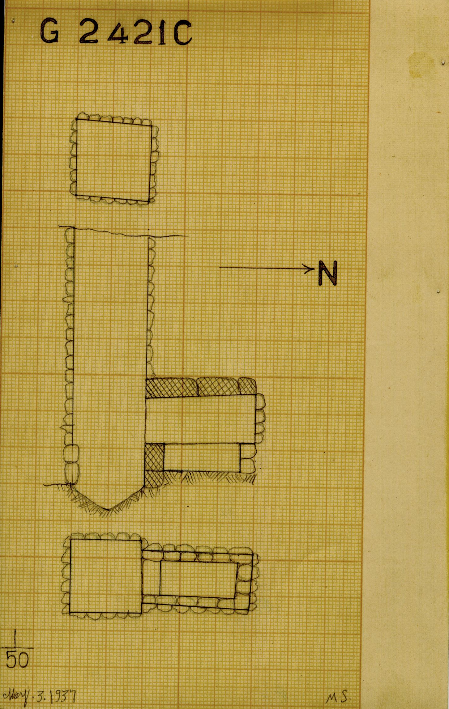 Maps and plans: G 2421, Shaft C