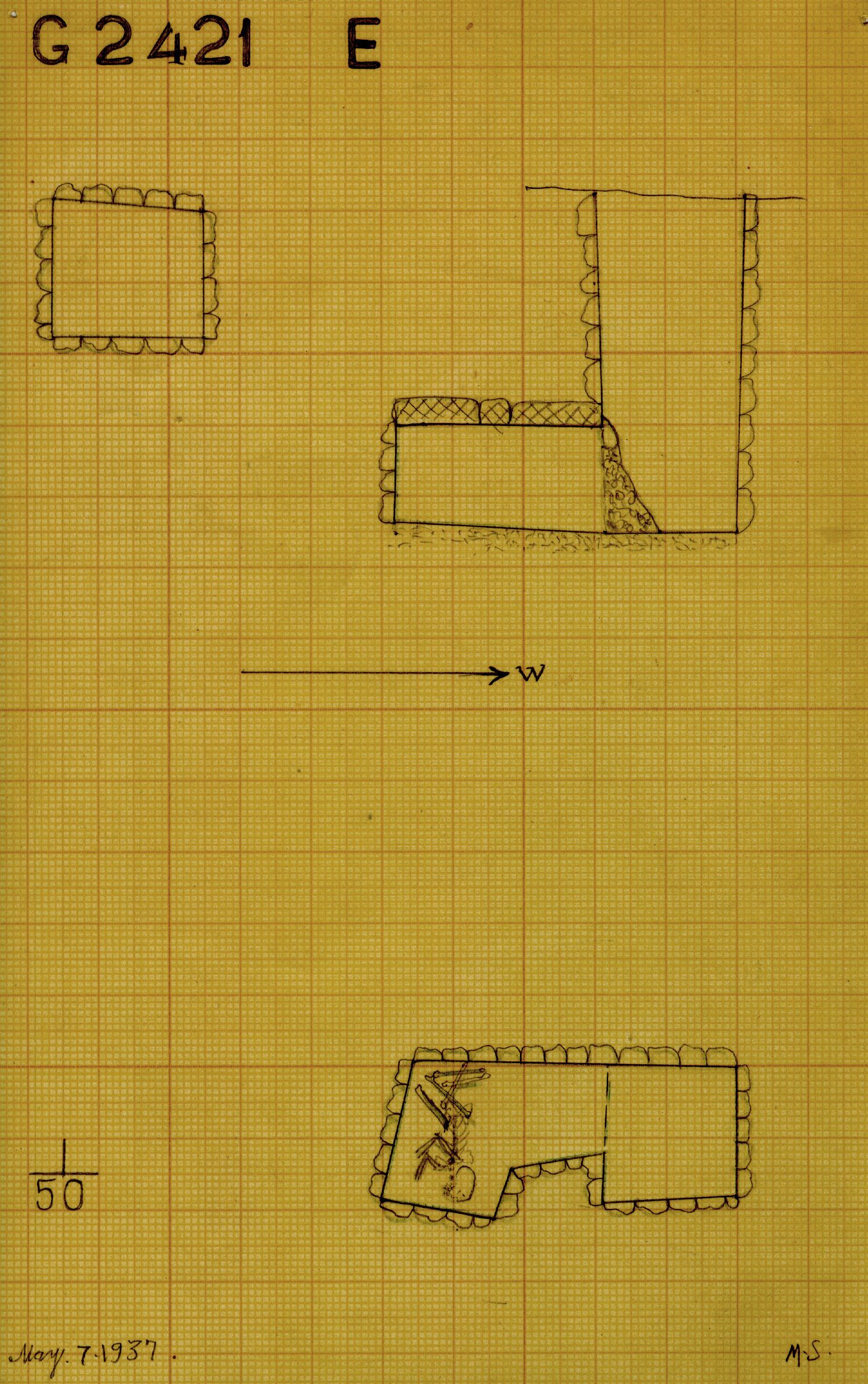Maps and plans: G 2421, Shaft E