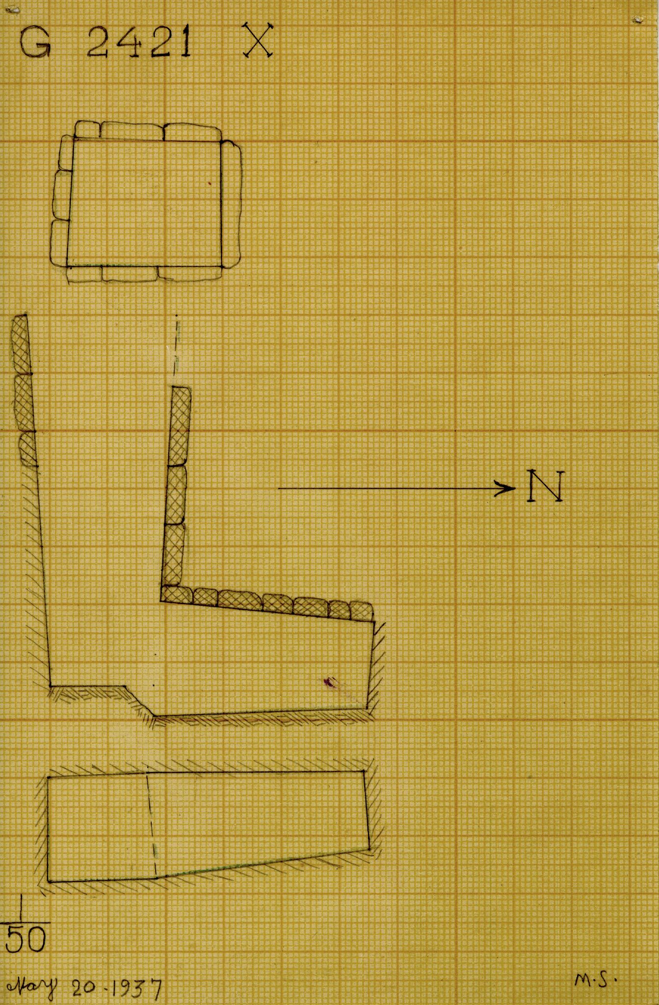 Maps and plans: G 2421, Shaft X
