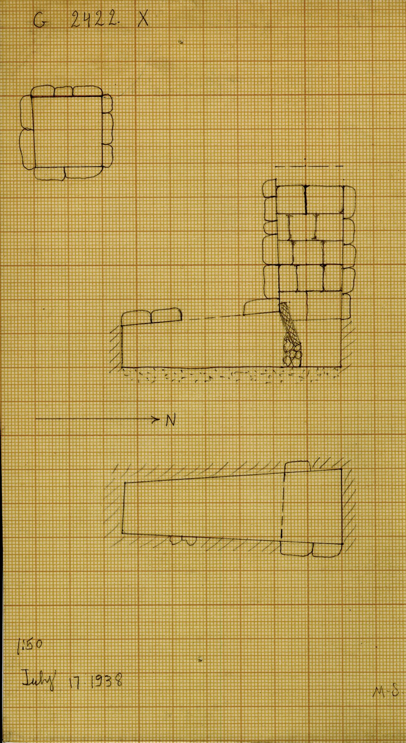 Maps and plans: G 2422, Shaft X
