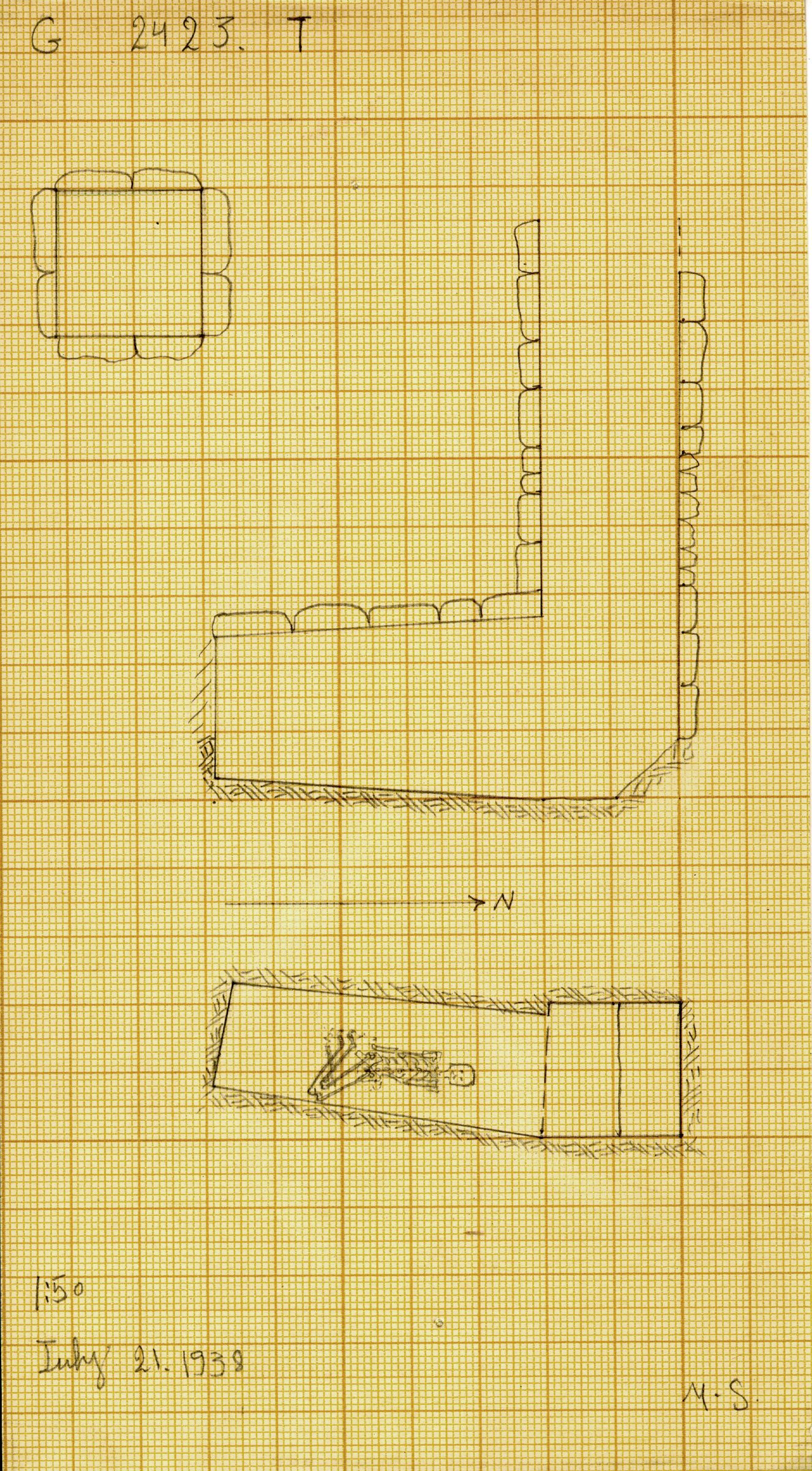 Maps and plans: G 2423, Shaft T